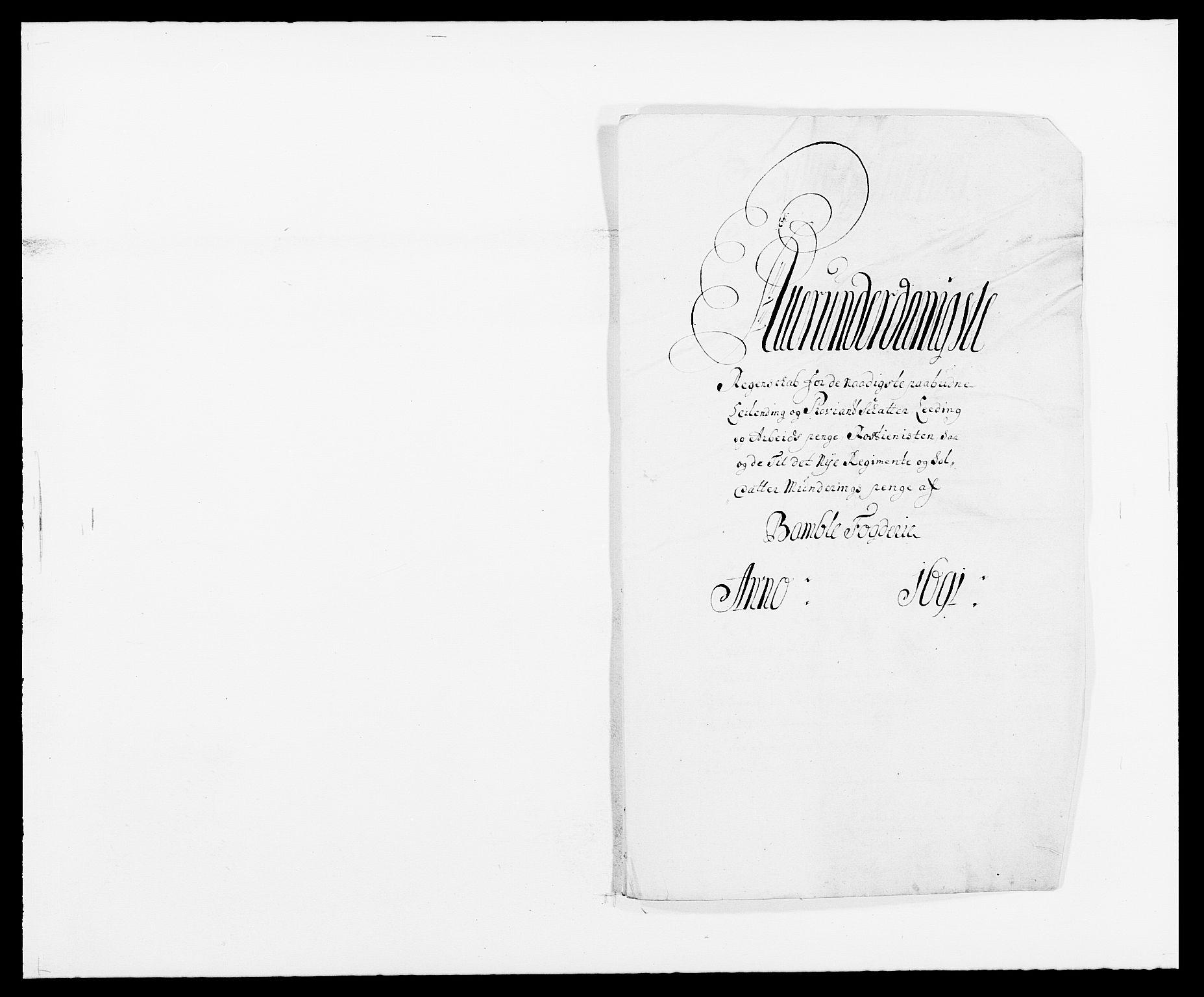 RA, Rentekammeret inntil 1814, Reviderte regnskaper, Fogderegnskap, R34/L2051: Fogderegnskap Bamble, 1688-1691, s. 302