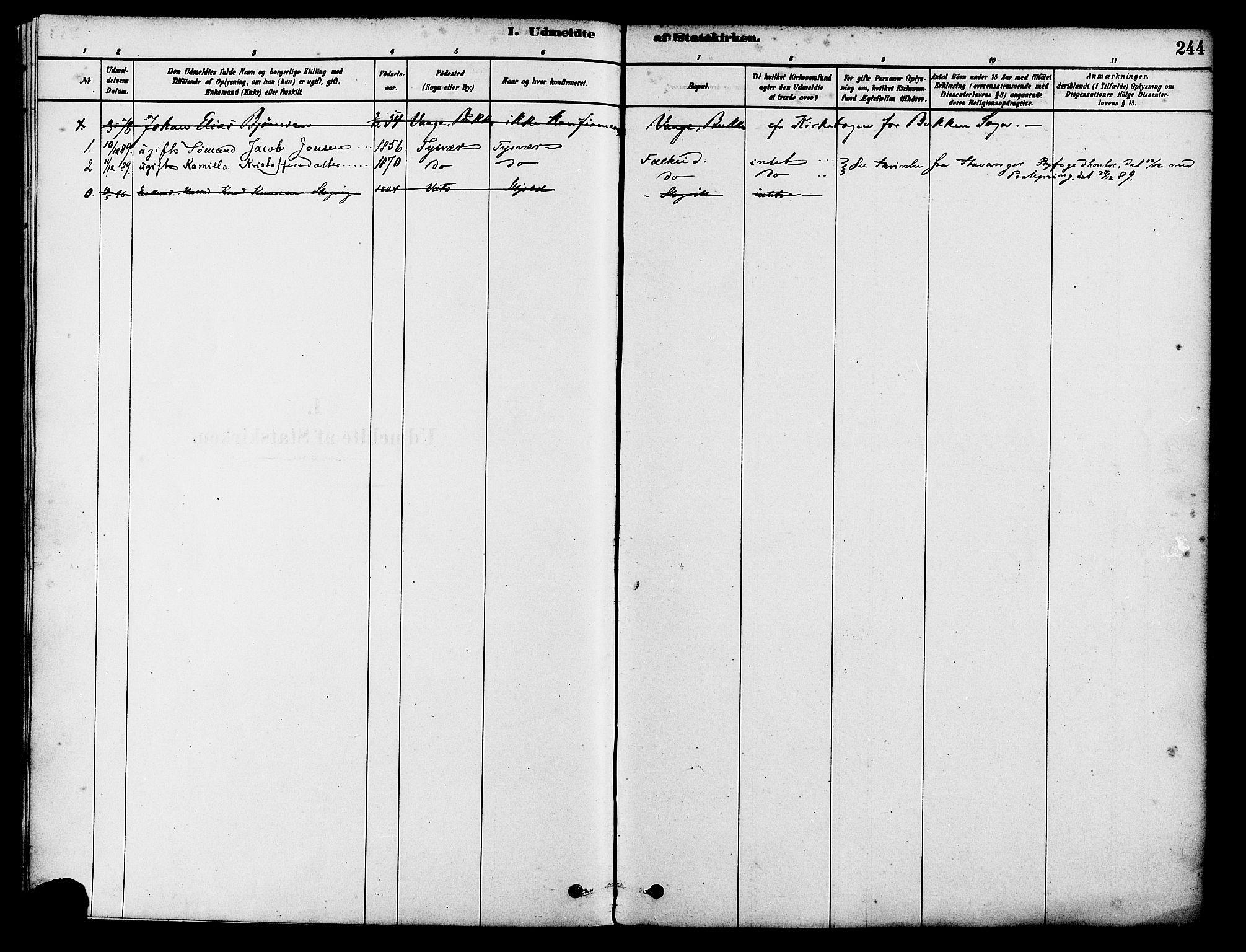 SAST, Tysvær sokneprestkontor, H/Ha/Haa/L0006: Ministerialbok nr. A 6, 1878-1896, s. 244