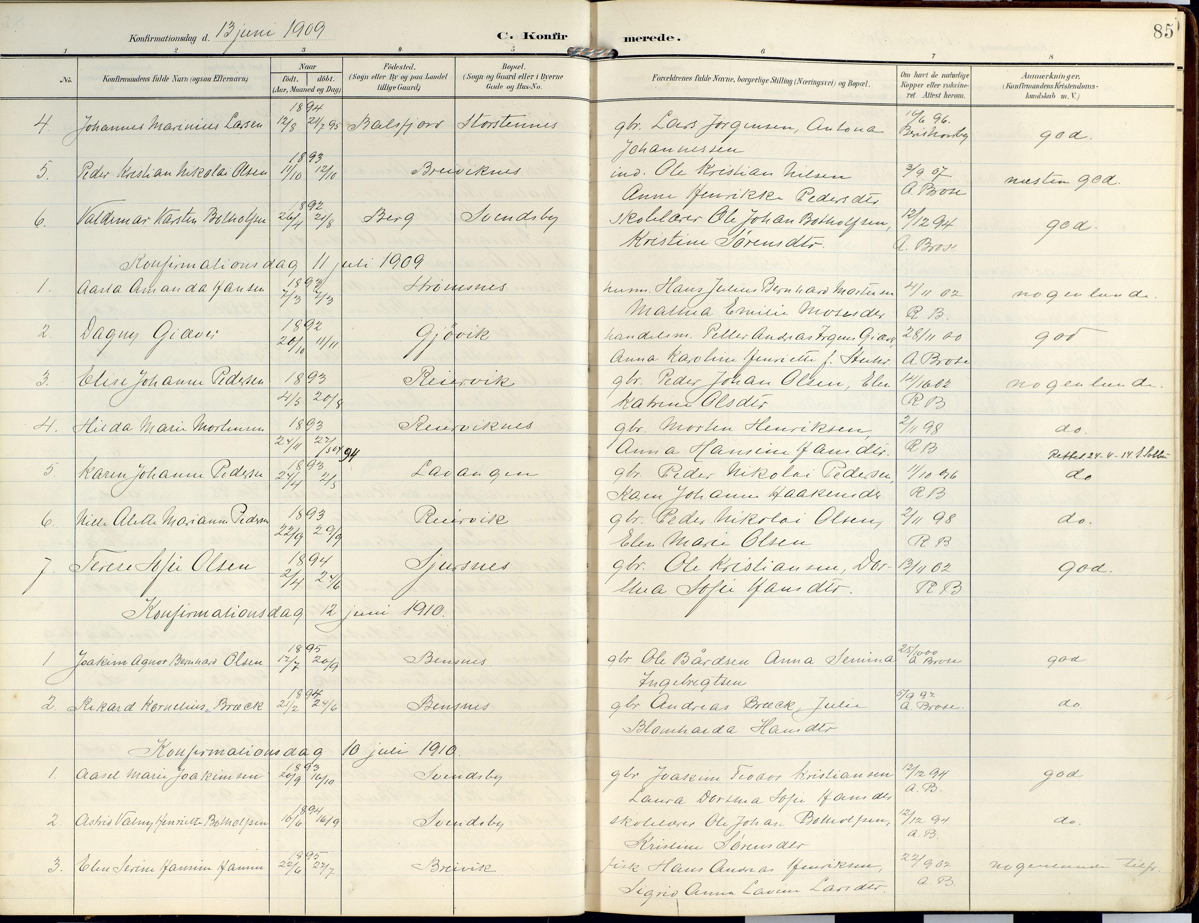 SATØ, Lyngen sokneprestembete, Ministerialbok nr. 14, 1905-1920, s. 85
