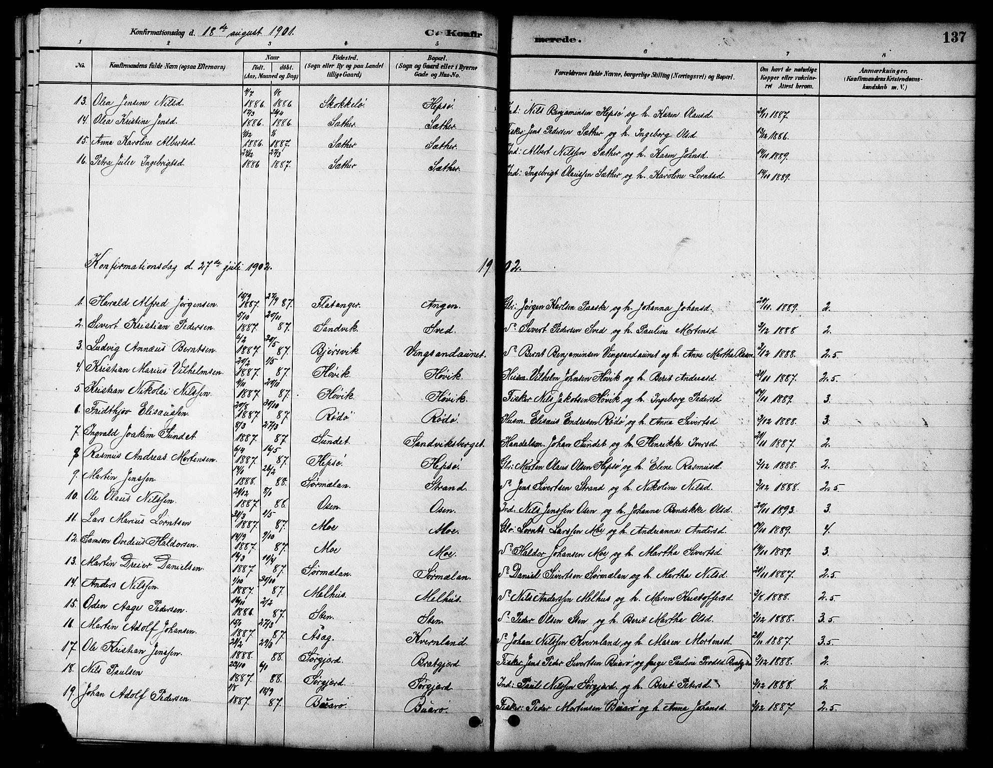 SAT, Ministerialprotokoller, klokkerbøker og fødselsregistre - Sør-Trøndelag, 658/L0726: Klokkerbok nr. 658C02, 1883-1908, s. 137
