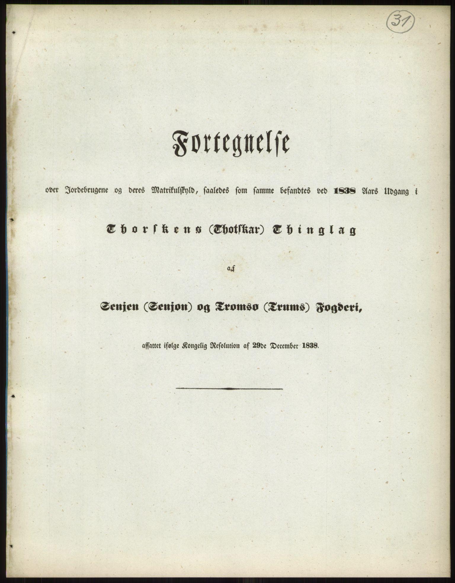 RA, 1838-matrikkelen (publikasjon)*, 1838, s. 31a