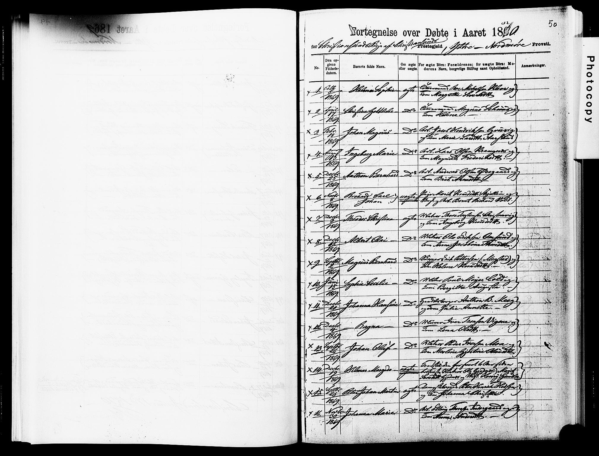 SAT, Ministerialprotokoller, klokkerbøker og fødselsregistre - Møre og Romsdal, 572/L0857: Ministerialbok nr. 572D01, 1866-1872, s. 50