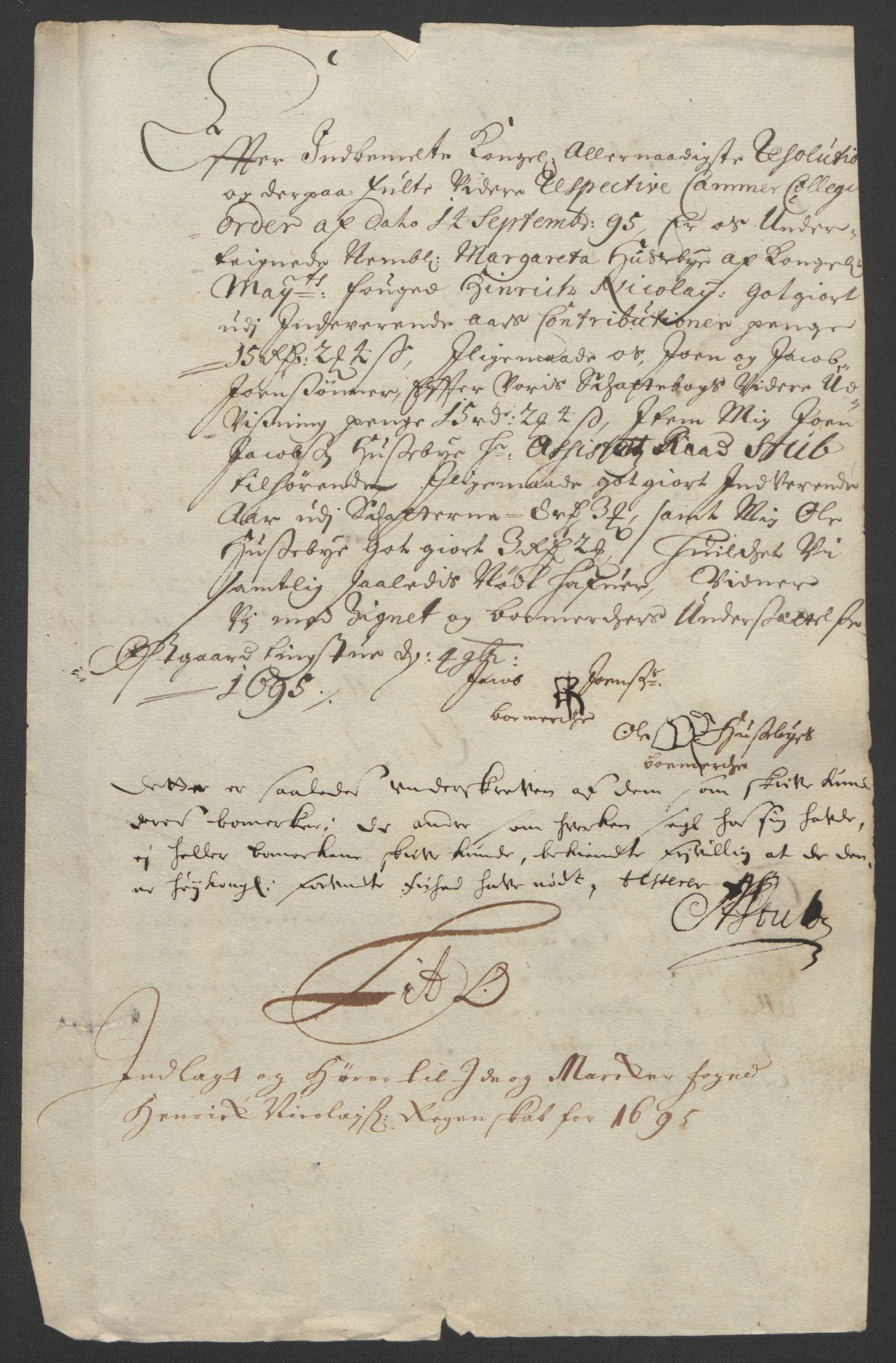 RA, Rentekammeret inntil 1814, Reviderte regnskaper, Fogderegnskap, R01/L0012: Fogderegnskap Idd og Marker, 1694-1695, s. 283