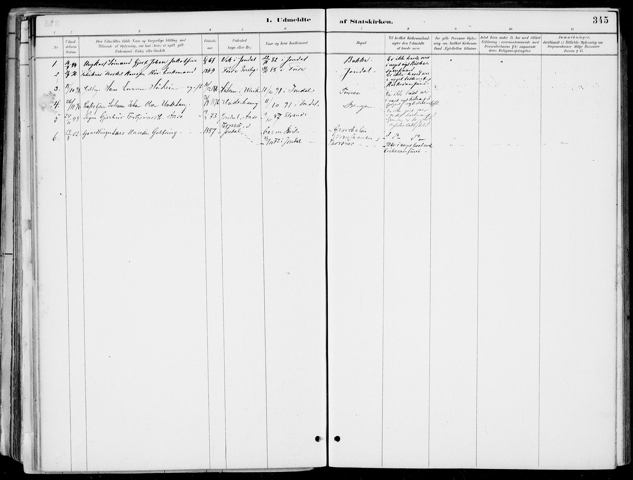 SAB, Strandebarm Sokneprestembete, H/Haa: Ministerialbok nr. E  1, 1886-1908, s. 345