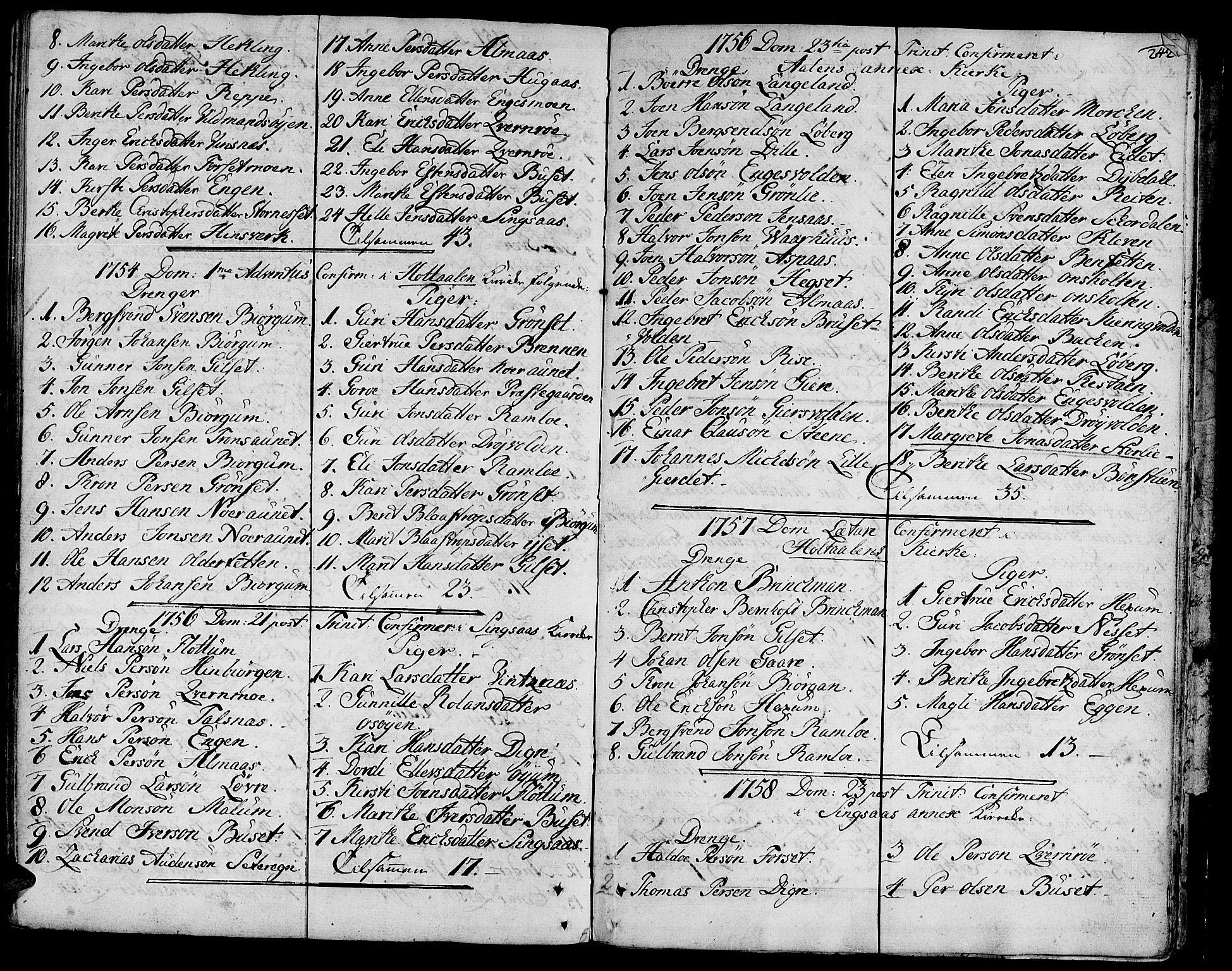 SAT, Ministerialprotokoller, klokkerbøker og fødselsregistre - Sør-Trøndelag, 685/L0952: Ministerialbok nr. 685A01, 1745-1804, s. 242