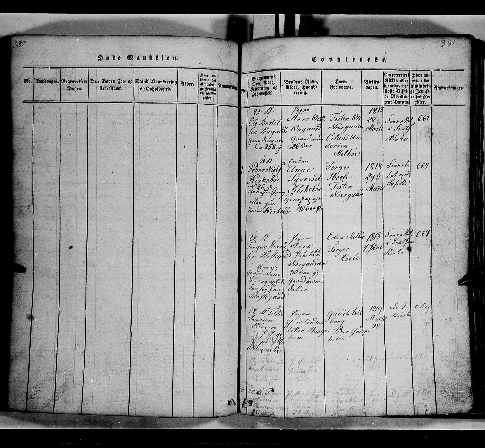 SAH, Gausdal prestekontor, Klokkerbok nr. 2, 1818-1874, s. 380-381