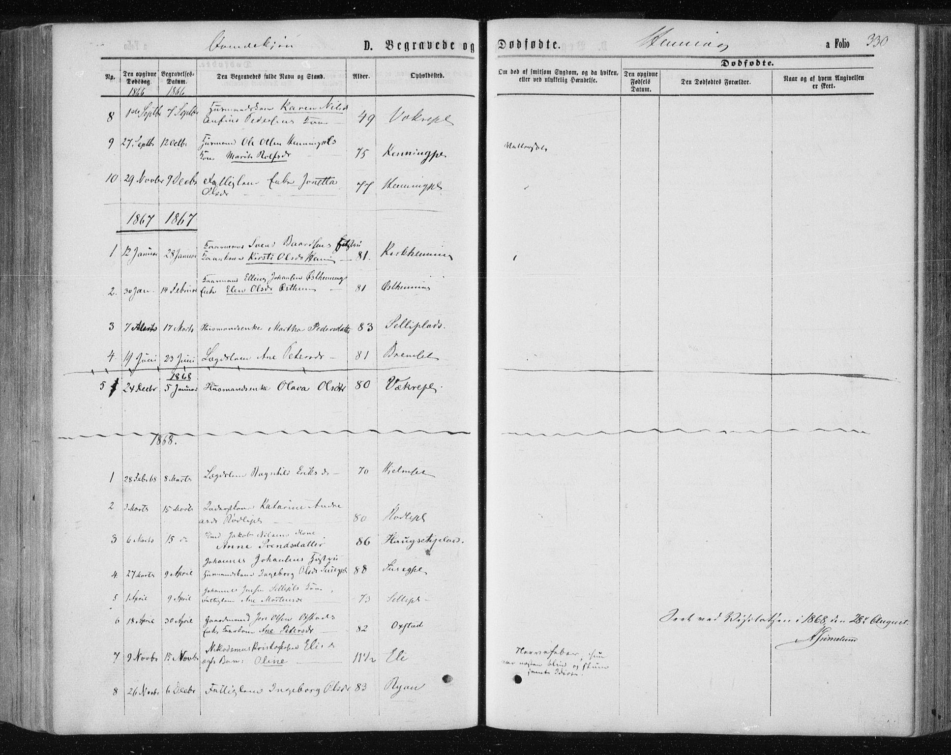 SAT, Ministerialprotokoller, klokkerbøker og fødselsregistre - Nord-Trøndelag, 735/L0345: Ministerialbok nr. 735A08 /3, 1863-1872, s. 330