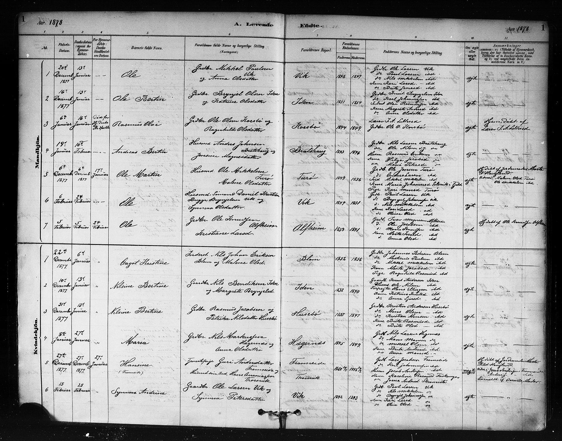 SAB, Herdla Sokneprestembete, H/Haa: Ministerialbok nr. A 3, 1878-1890, s. 1