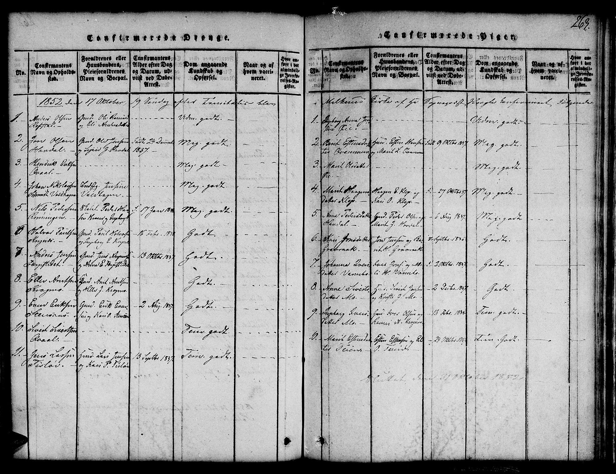 SAT, Ministerialprotokoller, klokkerbøker og fødselsregistre - Sør-Trøndelag, 691/L1092: Klokkerbok nr. 691C03, 1816-1852, s. 263
