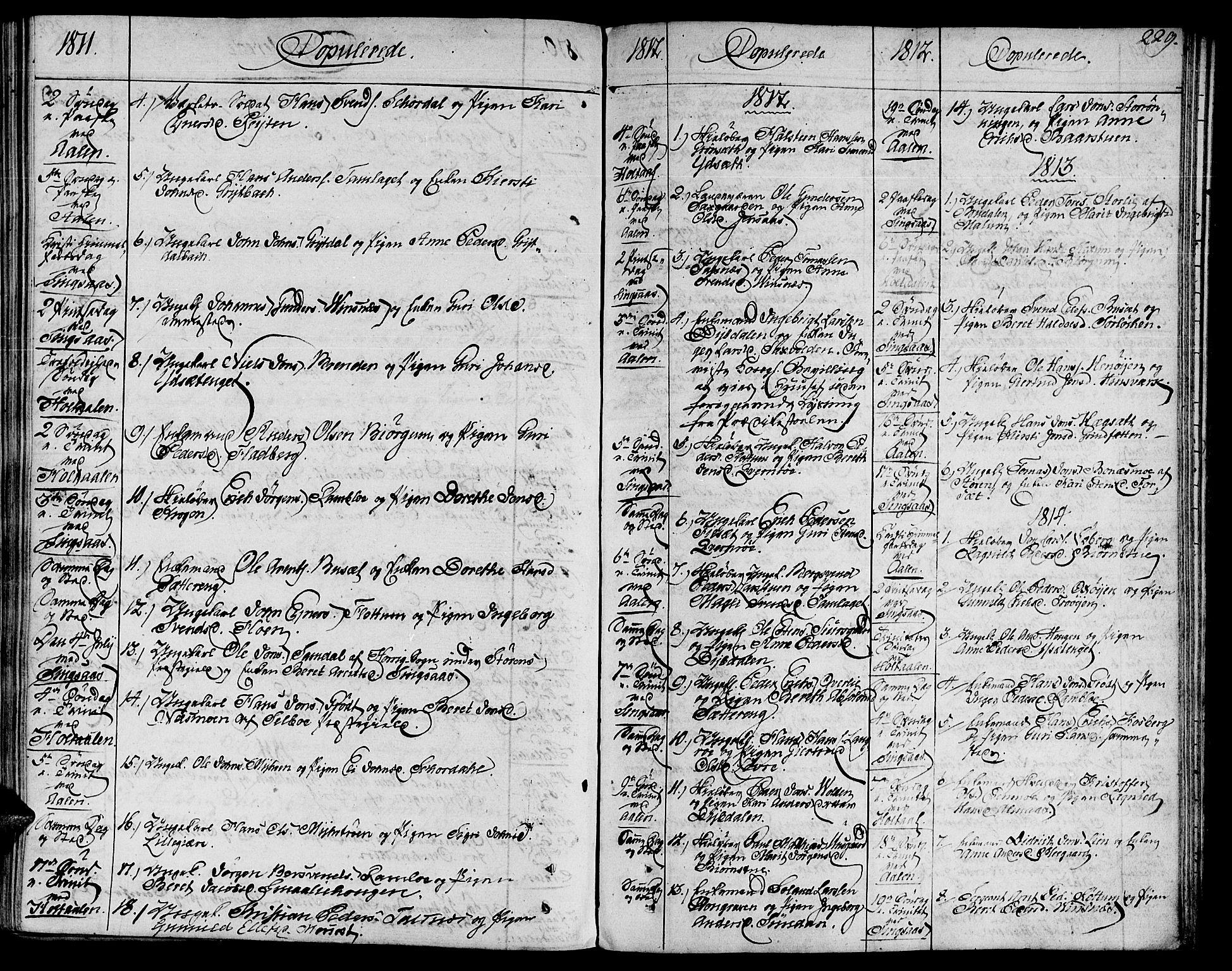 SAT, Ministerialprotokoller, klokkerbøker og fødselsregistre - Sør-Trøndelag, 685/L0953: Ministerialbok nr. 685A02, 1805-1816, s. 229