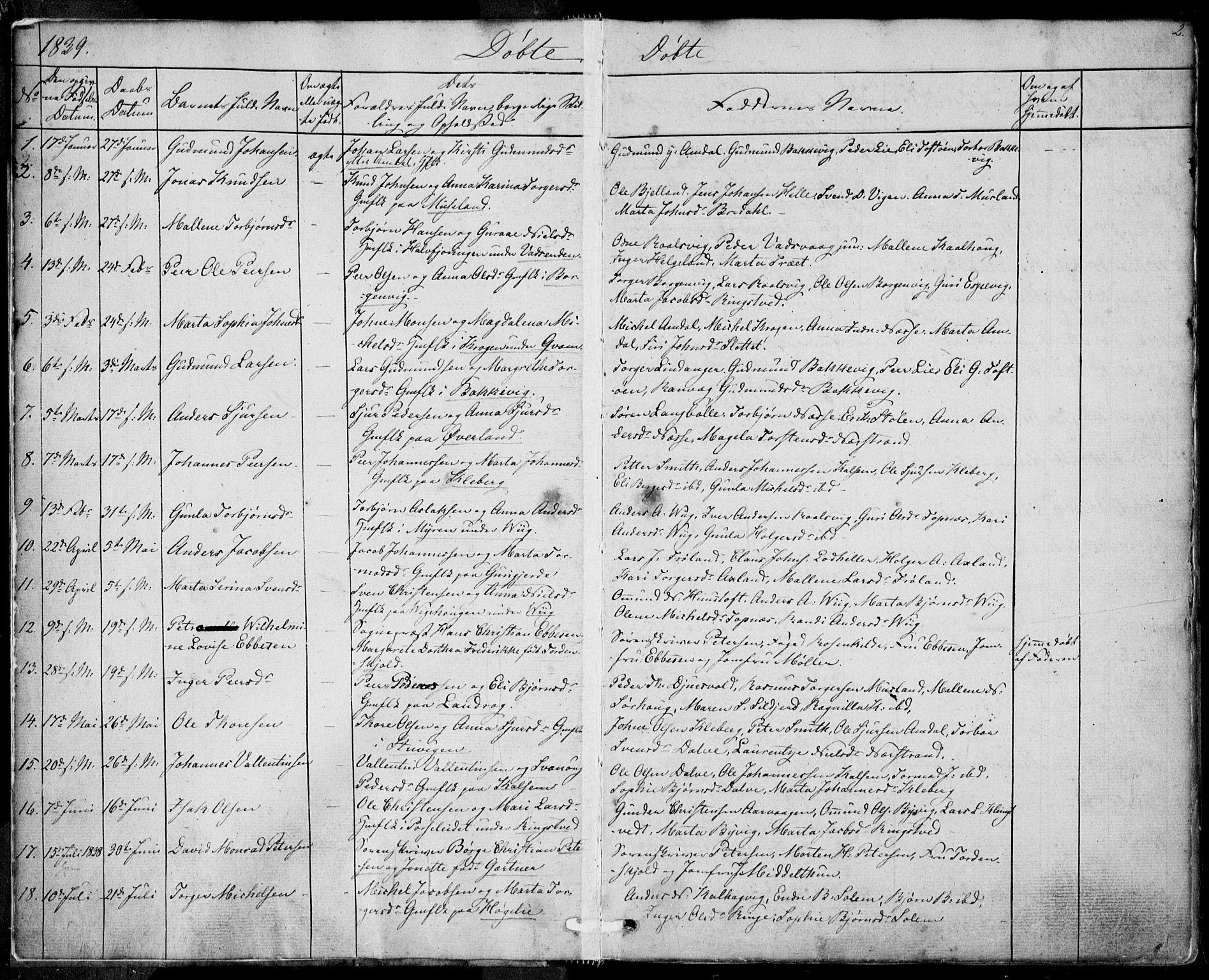 SAST, Nedstrand sokneprestkontor, IV: Ministerialbok nr. A 8, 1839-1860, s. 2