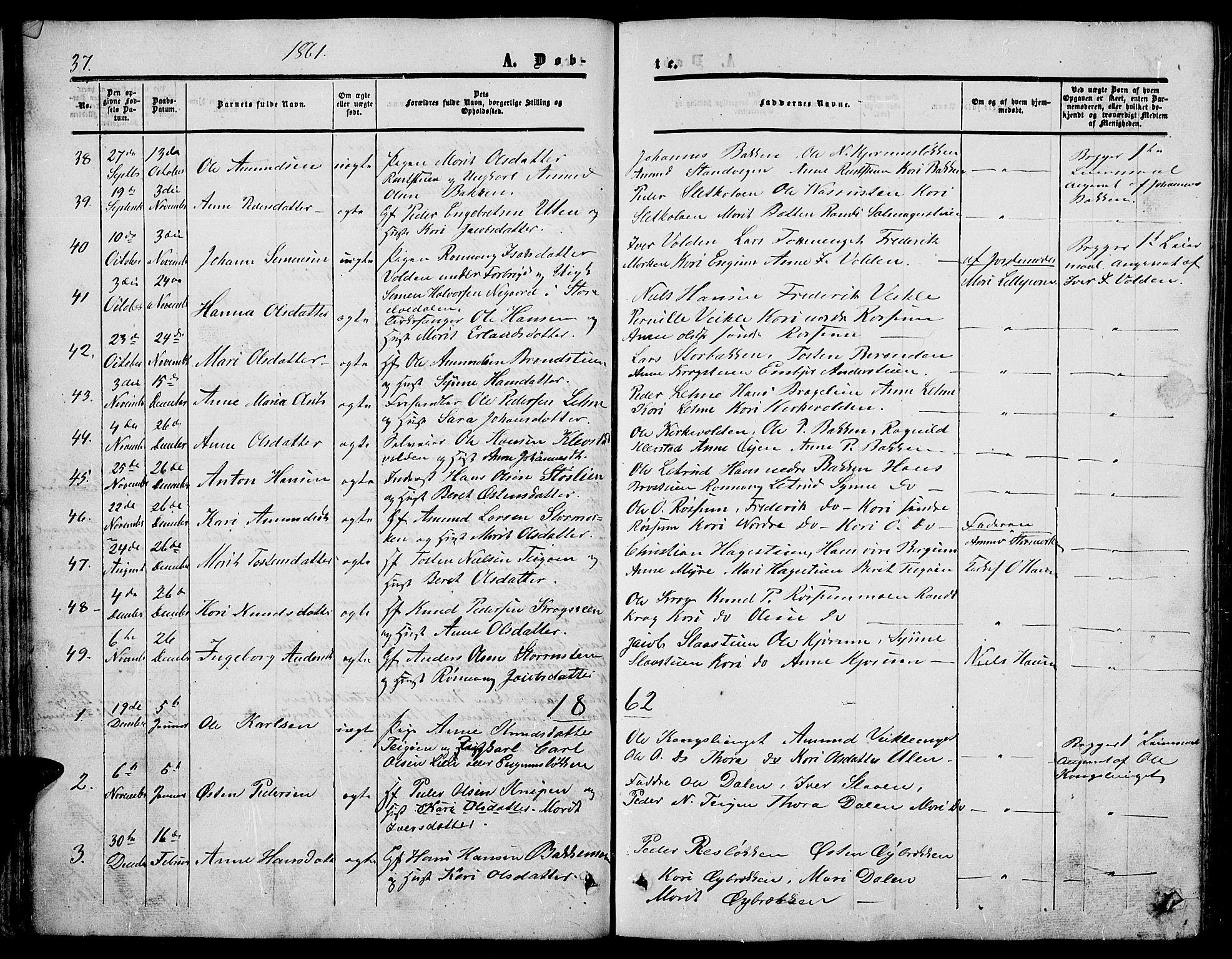 SAH, Nord-Fron prestekontor, Klokkerbok nr. 3, 1851-1886, s. 37