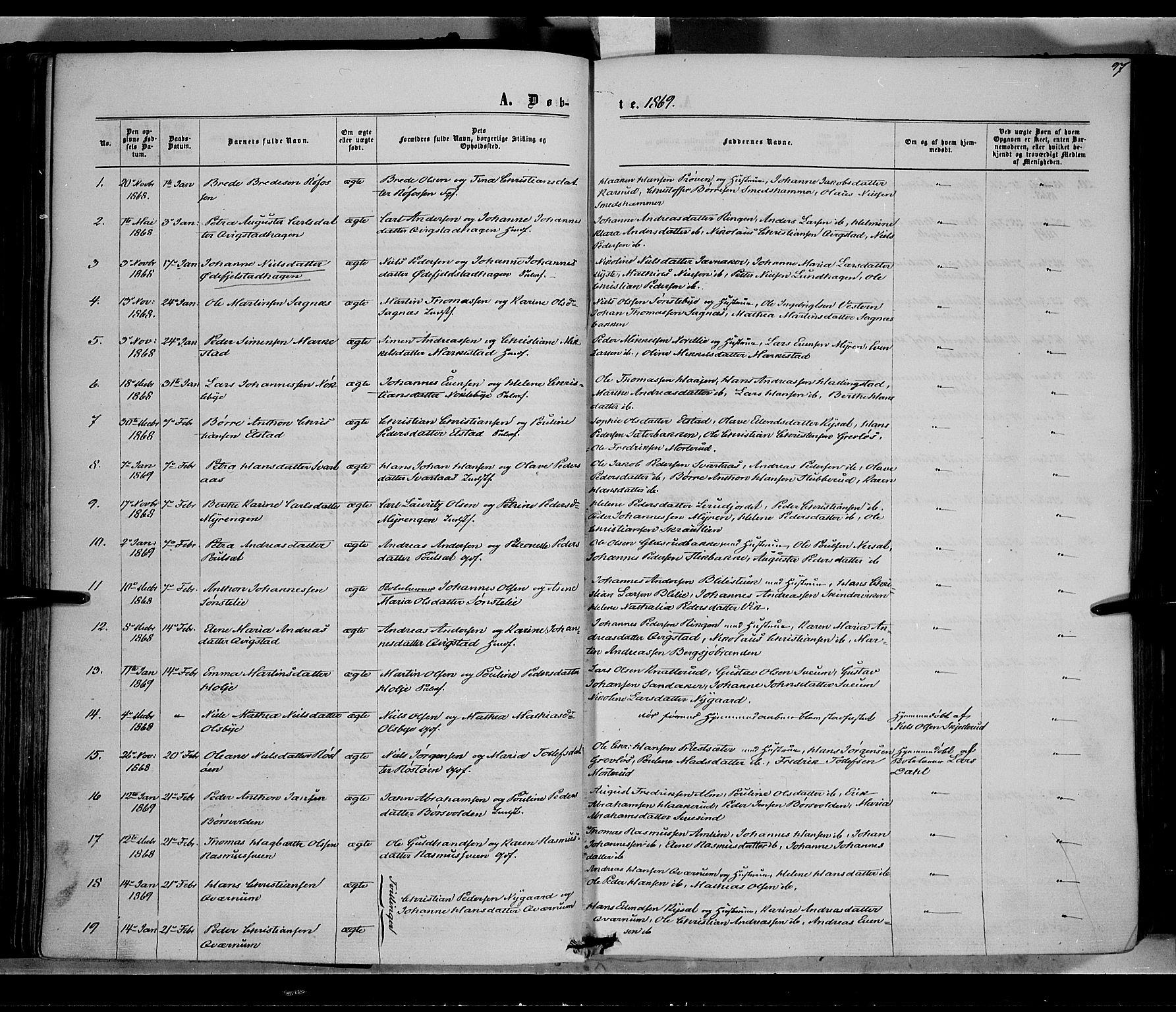 SAH, Vestre Toten prestekontor, Ministerialbok nr. 7, 1862-1869, s. 97