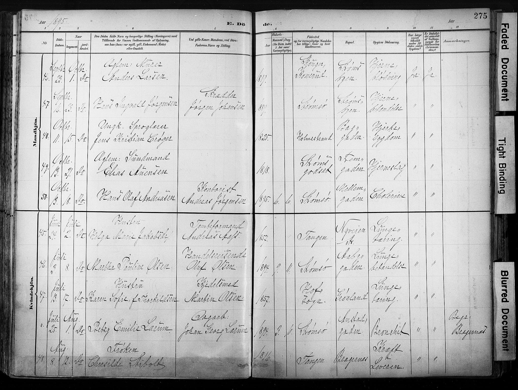 SAKO, Strømsø kirkebøker, G/Ga/L0003: Klokkerbok nr. 3, 1894-1904, s. 275
