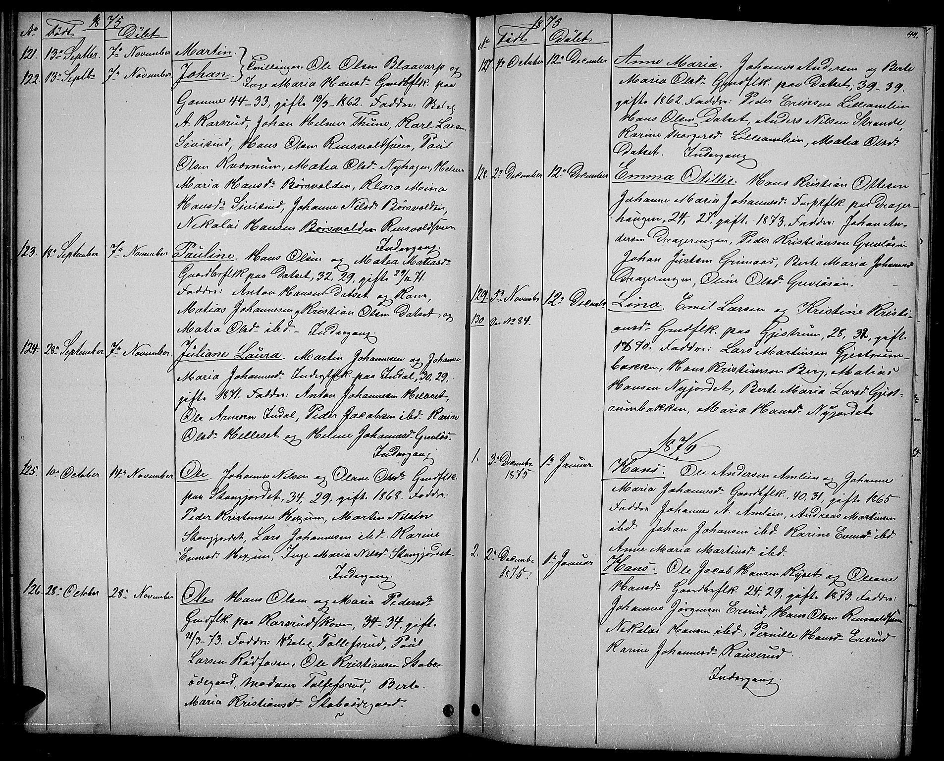 SAH, Vestre Toten prestekontor, H/Ha/Hab/L0006: Klokkerbok nr. 6, 1870-1887, s. 44