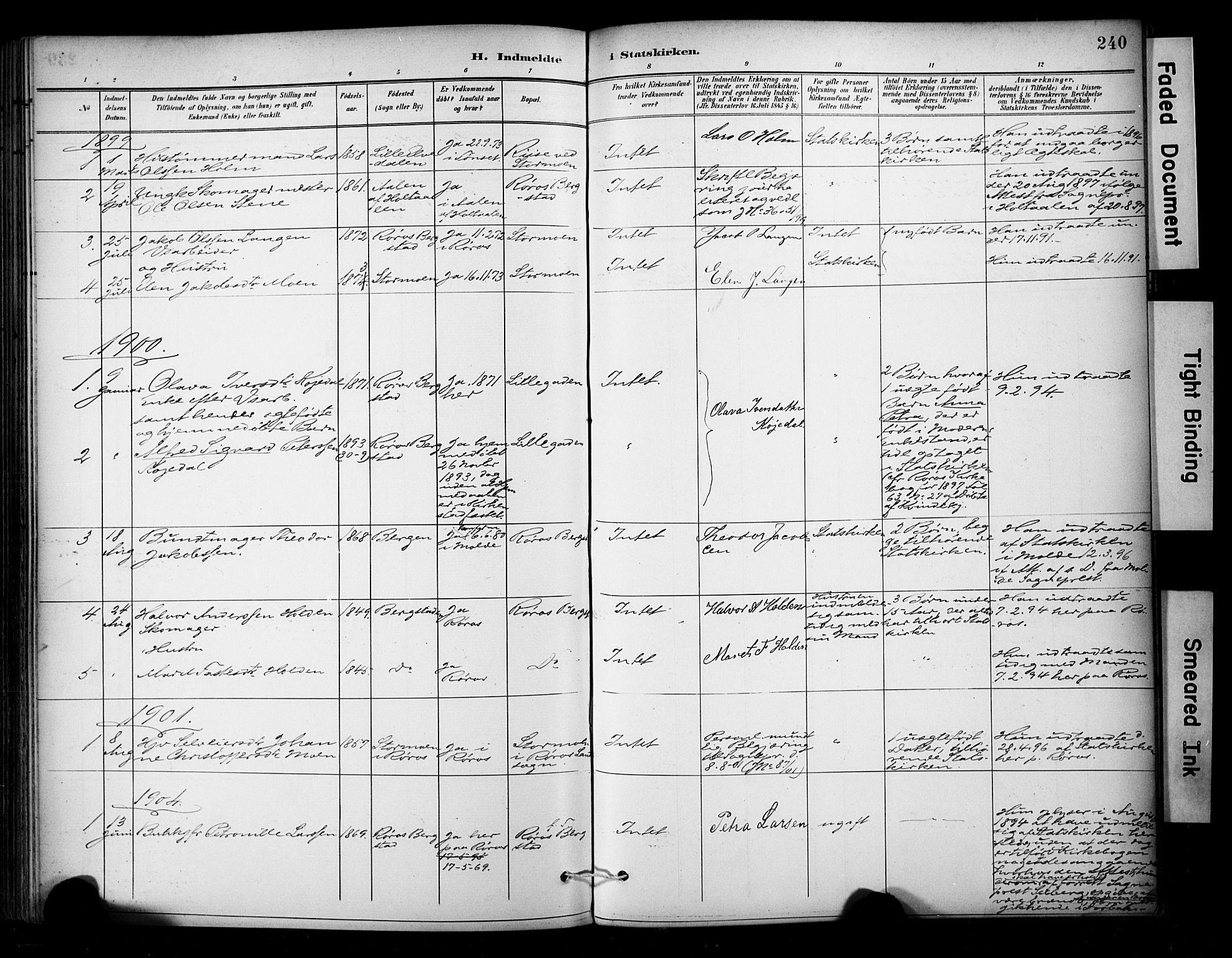 SAT, Ministerialprotokoller, klokkerbøker og fødselsregistre - Sør-Trøndelag, 681/L0936: Ministerialbok nr. 681A14, 1899-1908, s. 240