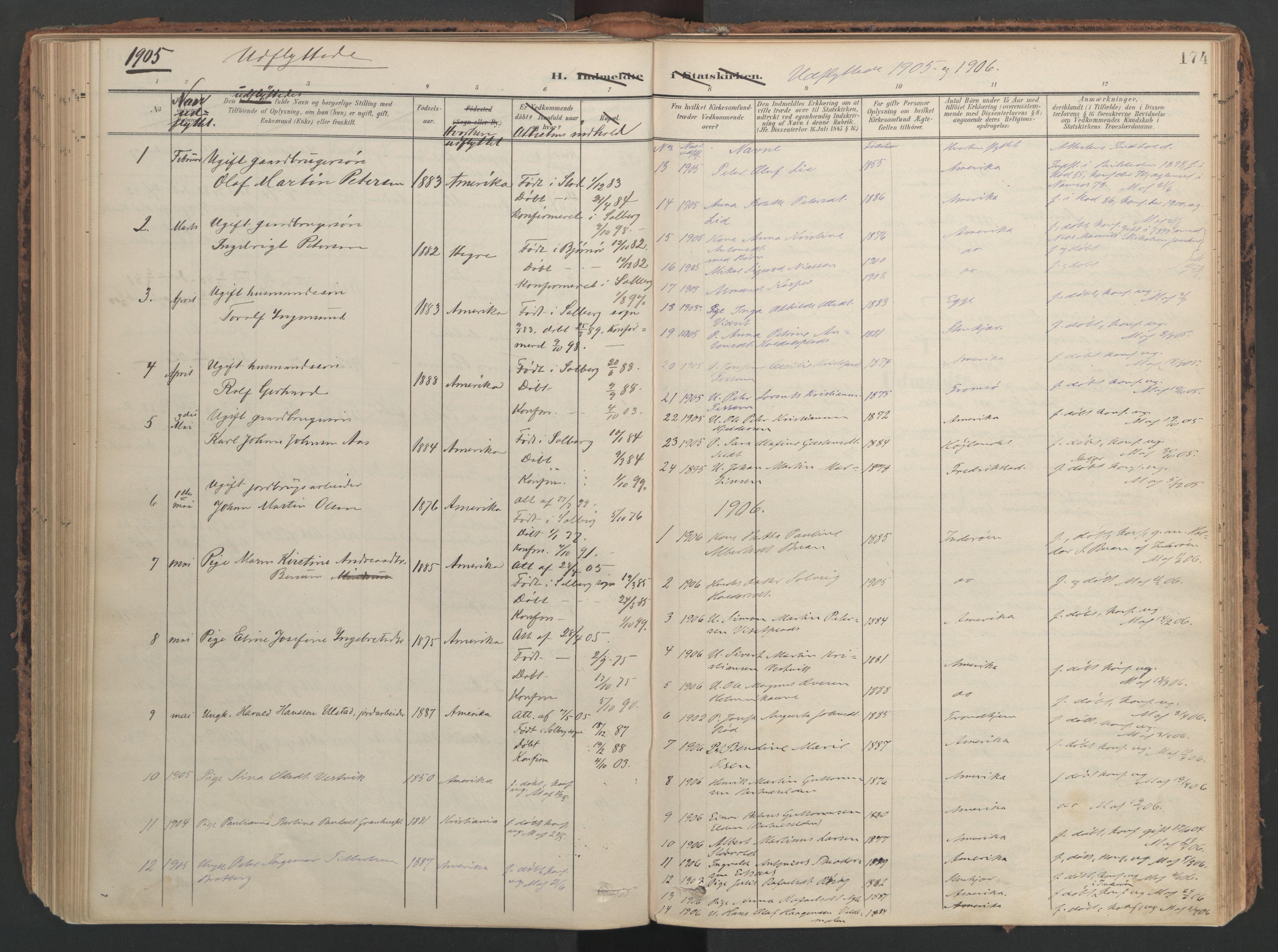 SAT, Ministerialprotokoller, klokkerbøker og fødselsregistre - Nord-Trøndelag, 741/L0397: Ministerialbok nr. 741A11, 1901-1911, s. 174
