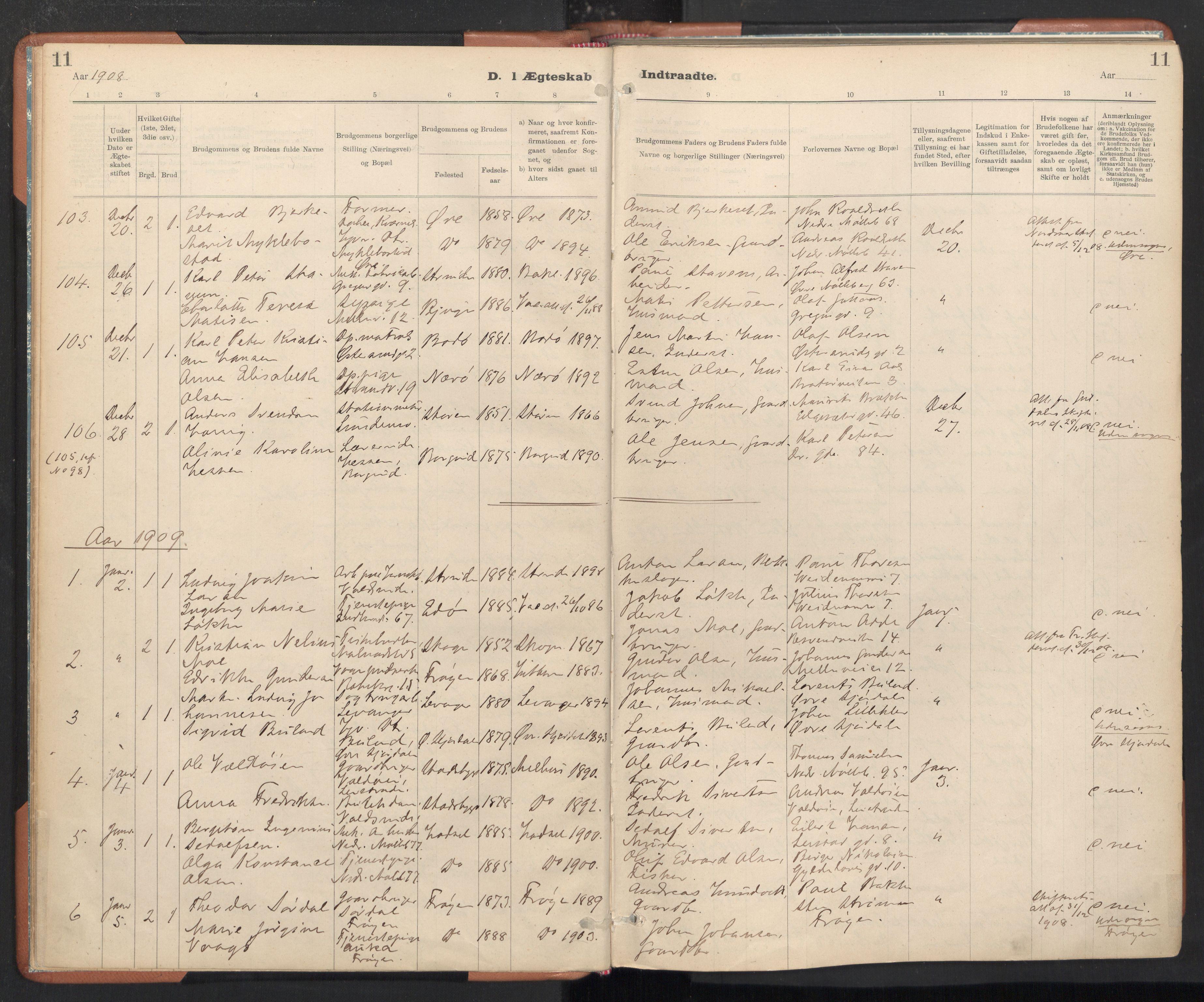 SAT, Ministerialprotokoller, klokkerbøker og fødselsregistre - Sør-Trøndelag, 605/L0244: Ministerialbok nr. 605A06, 1908-1954, s. 11