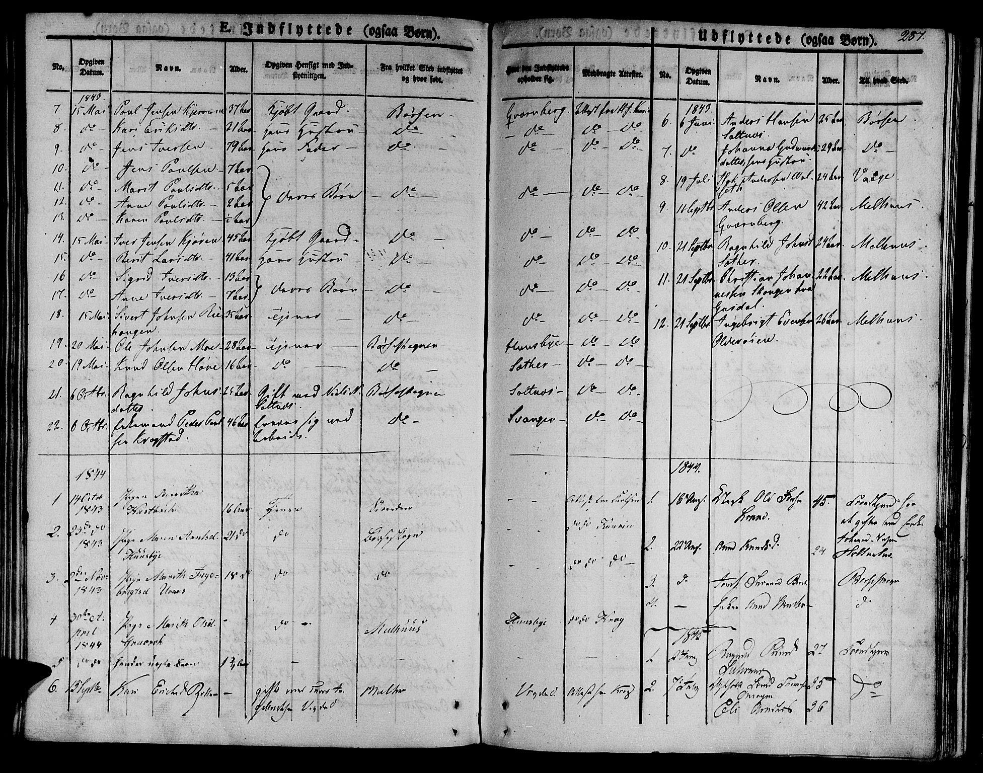 SAT, Ministerialprotokoller, klokkerbøker og fødselsregistre - Sør-Trøndelag, 612/L0375: Ministerialbok nr. 612A07 /2, 1829-1845, s. 287