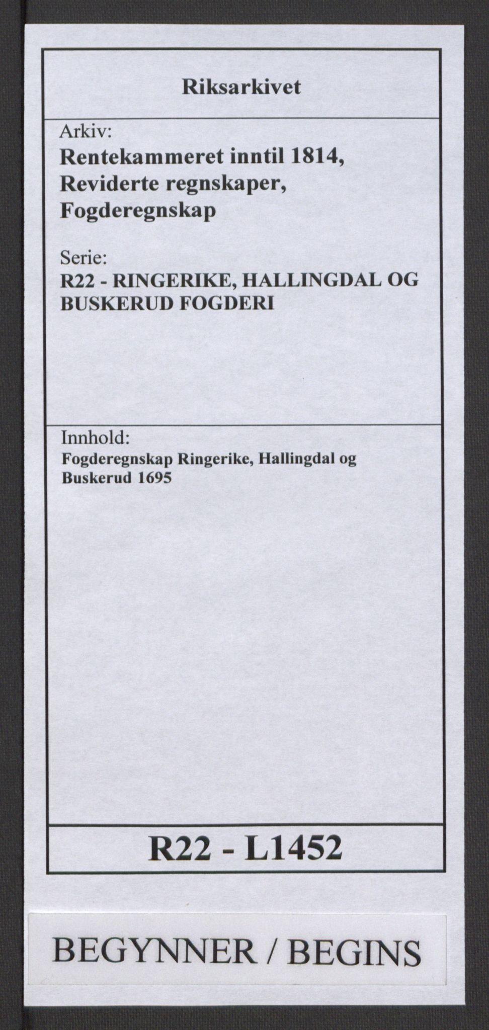 RA, Rentekammeret inntil 1814, Reviderte regnskaper, Fogderegnskap, R22/L1452: Fogderegnskap Ringerike, Hallingdal og Buskerud, 1695, s. 1
