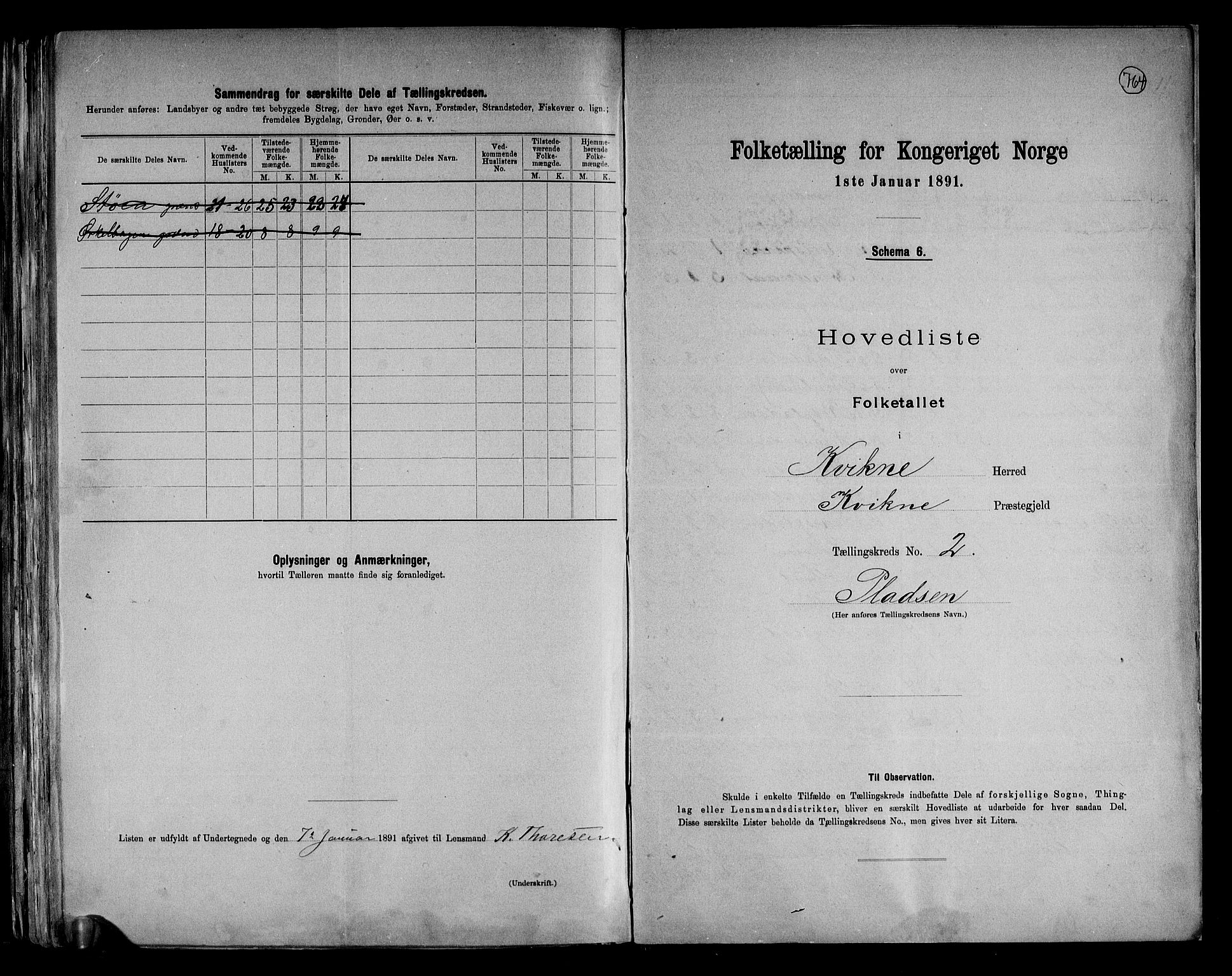 RA, Folketelling 1891 for 0440 Kvikne herred, 1891, s. 7