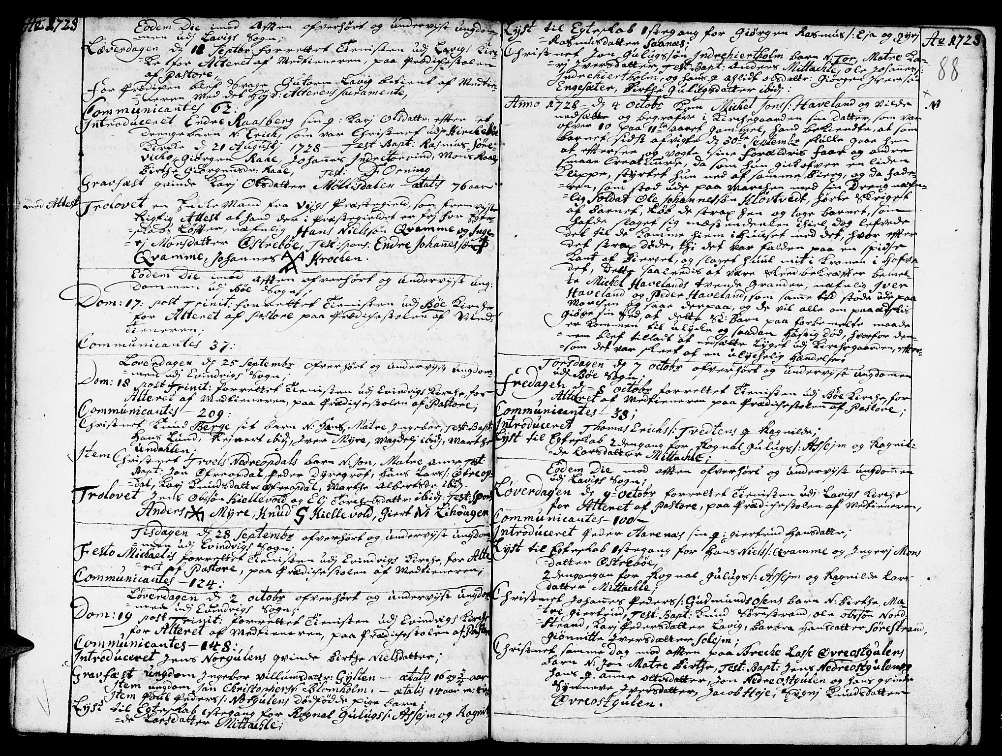 SAB, Gulen Sokneprestembete, Ministerialbok nr. A 8, 1723-1728, s. 88