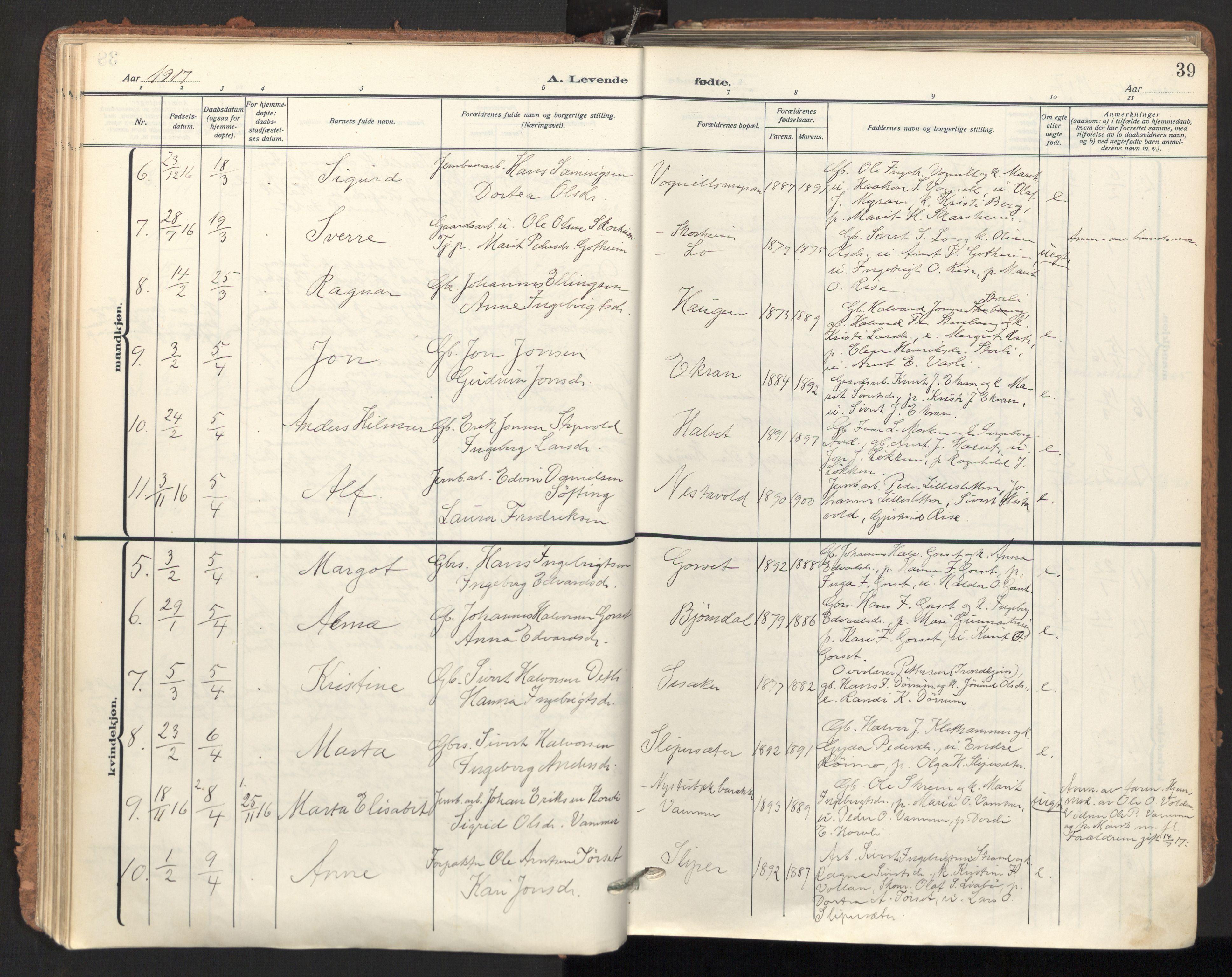 SAT, Ministerialprotokoller, klokkerbøker og fødselsregistre - Sør-Trøndelag, 678/L0909: Ministerialbok nr. 678A17, 1912-1930, s. 39
