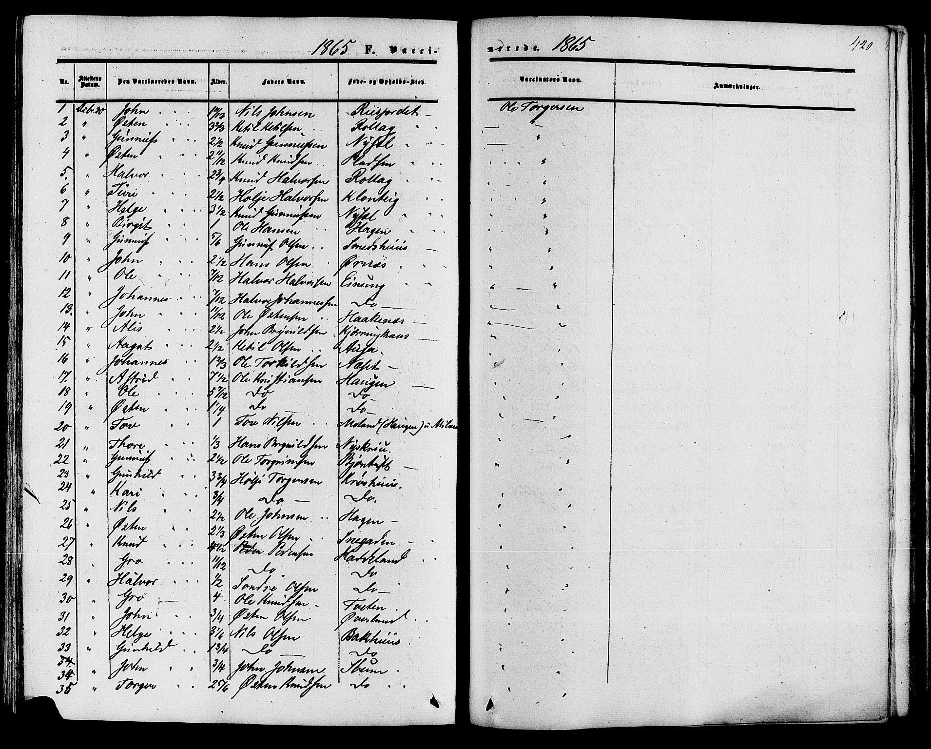 SAKO, Tinn kirkebøker, F/Fa/L0006: Ministerialbok nr. I 6, 1857-1878, s. 420