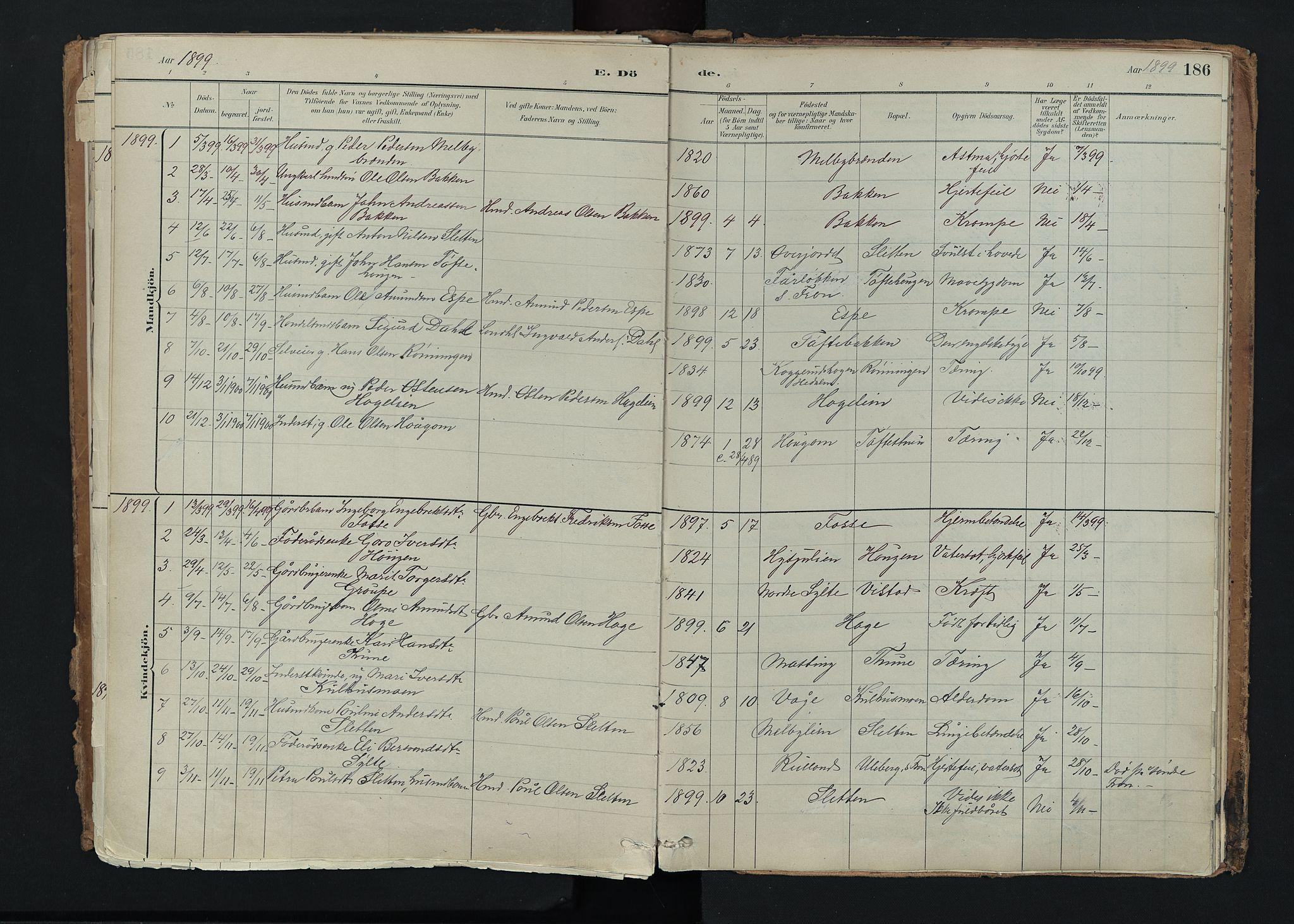 SAH, Nord-Fron prestekontor, Ministerialbok nr. 5, 1884-1914, s. 186