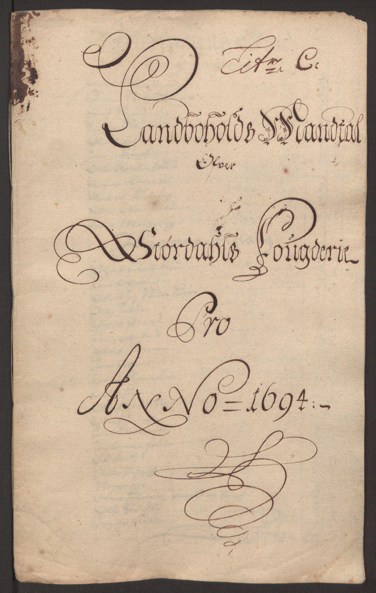 RA, Rentekammeret inntil 1814, Reviderte regnskaper, Fogderegnskap, R62/L4186: Fogderegnskap Stjørdal og Verdal, 1693-1694, s. 195
