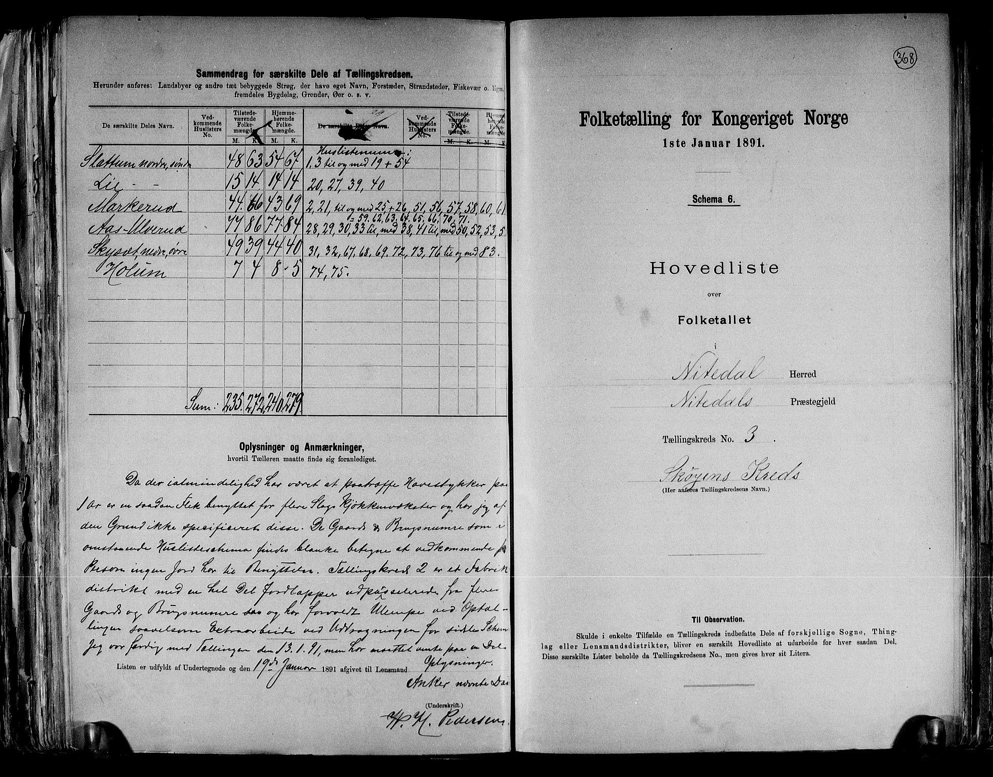 RA, Folketelling 1891 for 0233 Nittedal herred, 1891, s. 9