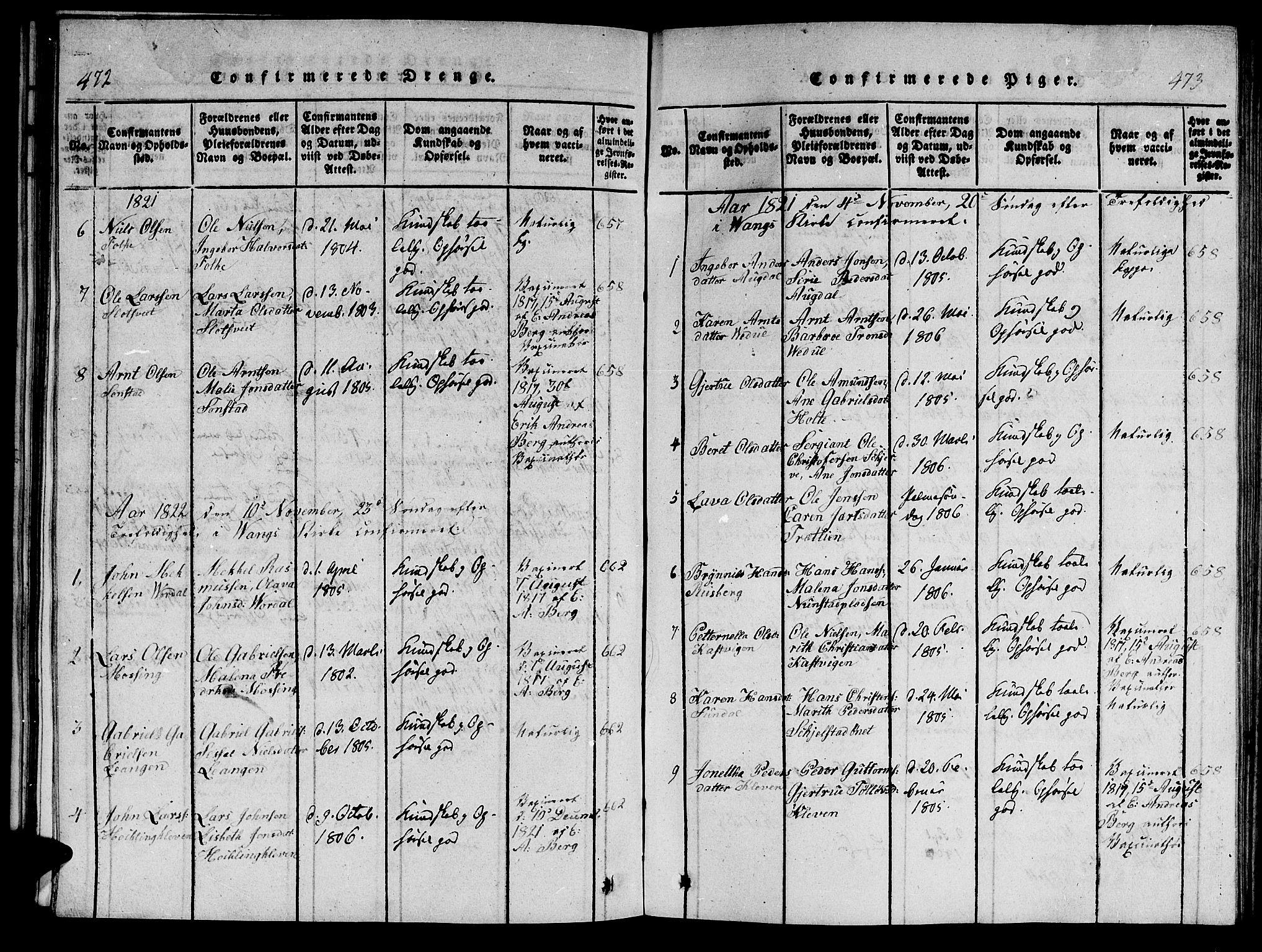 SAT, Ministerialprotokoller, klokkerbøker og fødselsregistre - Nord-Trøndelag, 714/L0132: Klokkerbok nr. 714C01, 1817-1824, s. 472-473