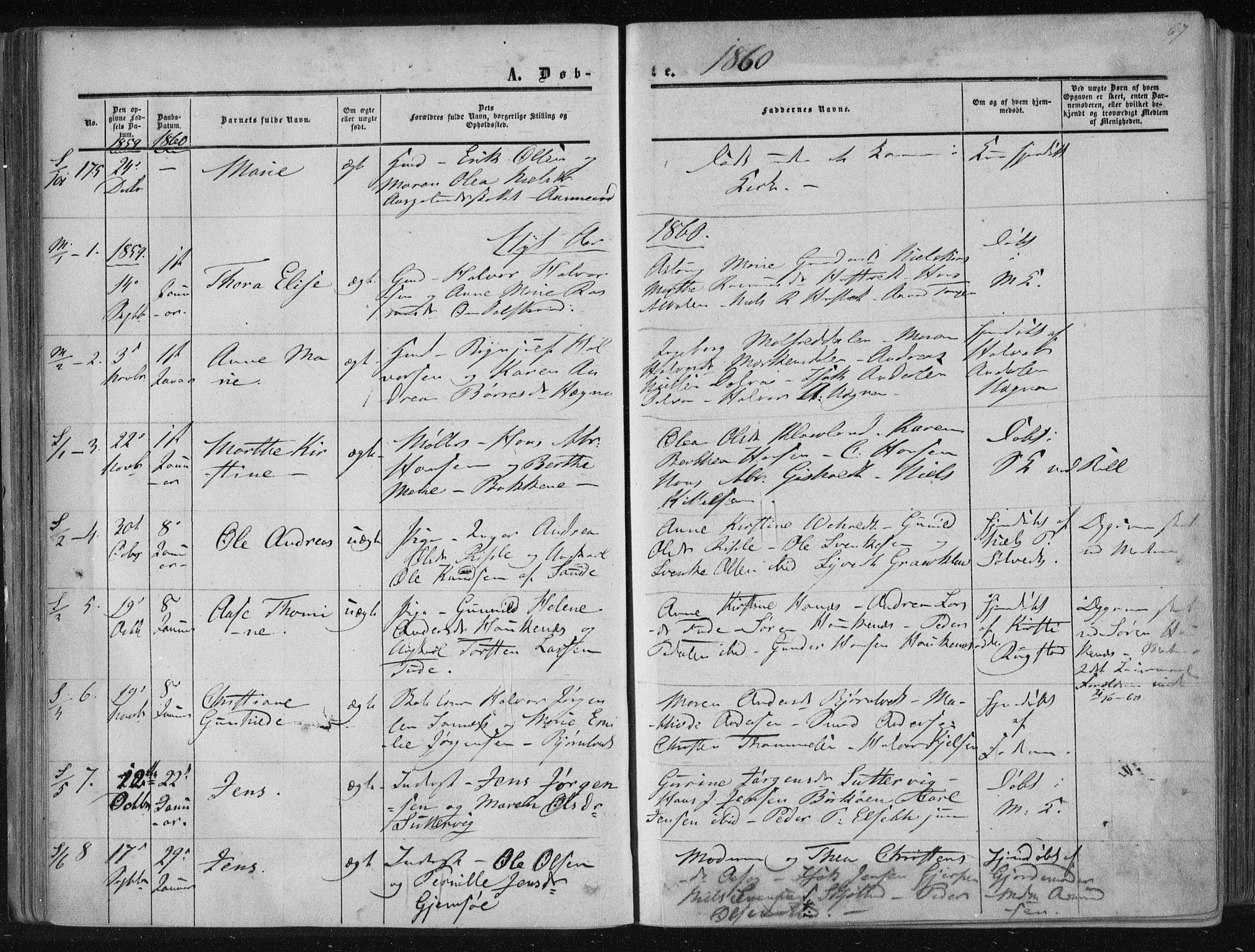 SAKO, Solum kirkebøker, F/Fa/L0007: Ministerialbok nr. I 7, 1856-1864, s. 67