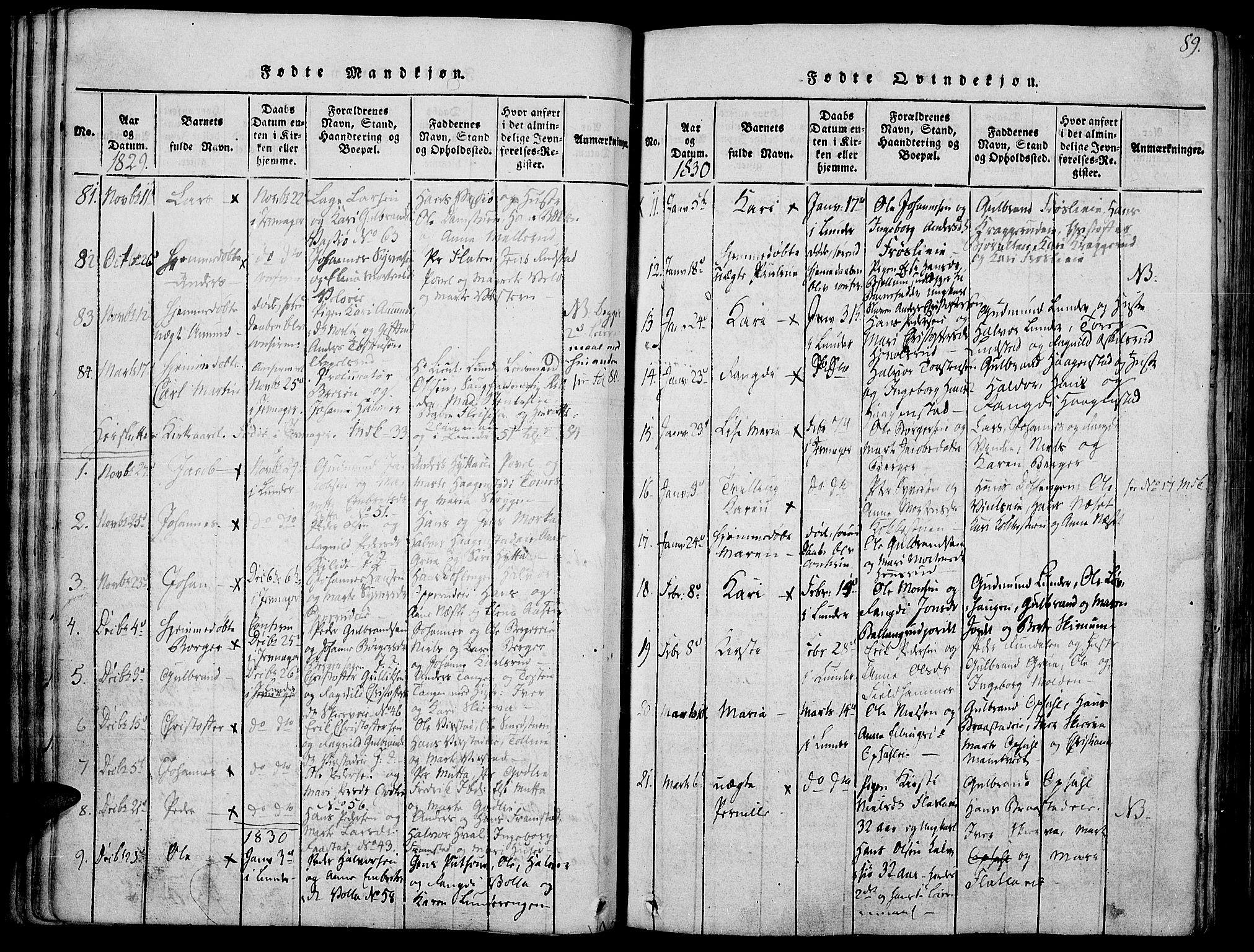 SAH, Jevnaker prestekontor, Ministerialbok nr. 5, 1815-1837, s. 89