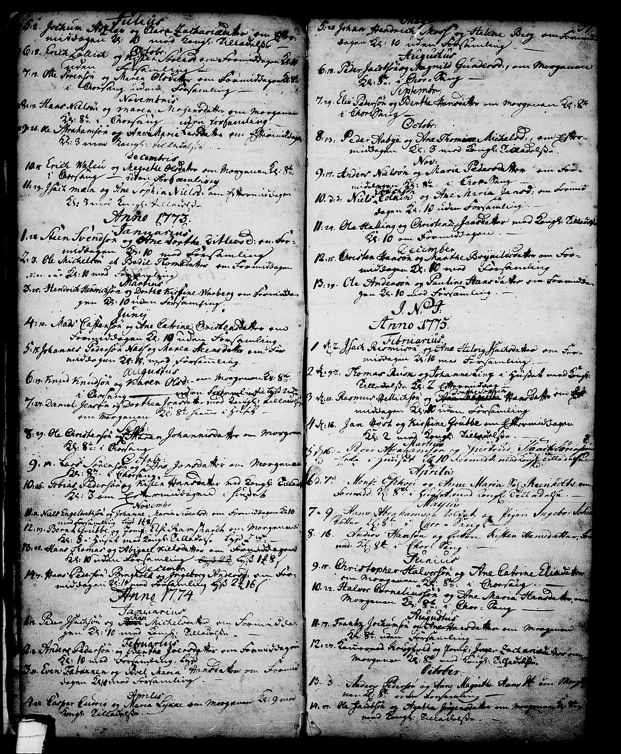 SAKO, Skien kirkebøker, G/Ga/L0001: Klokkerbok nr. 1, 1756-1791, s. 37