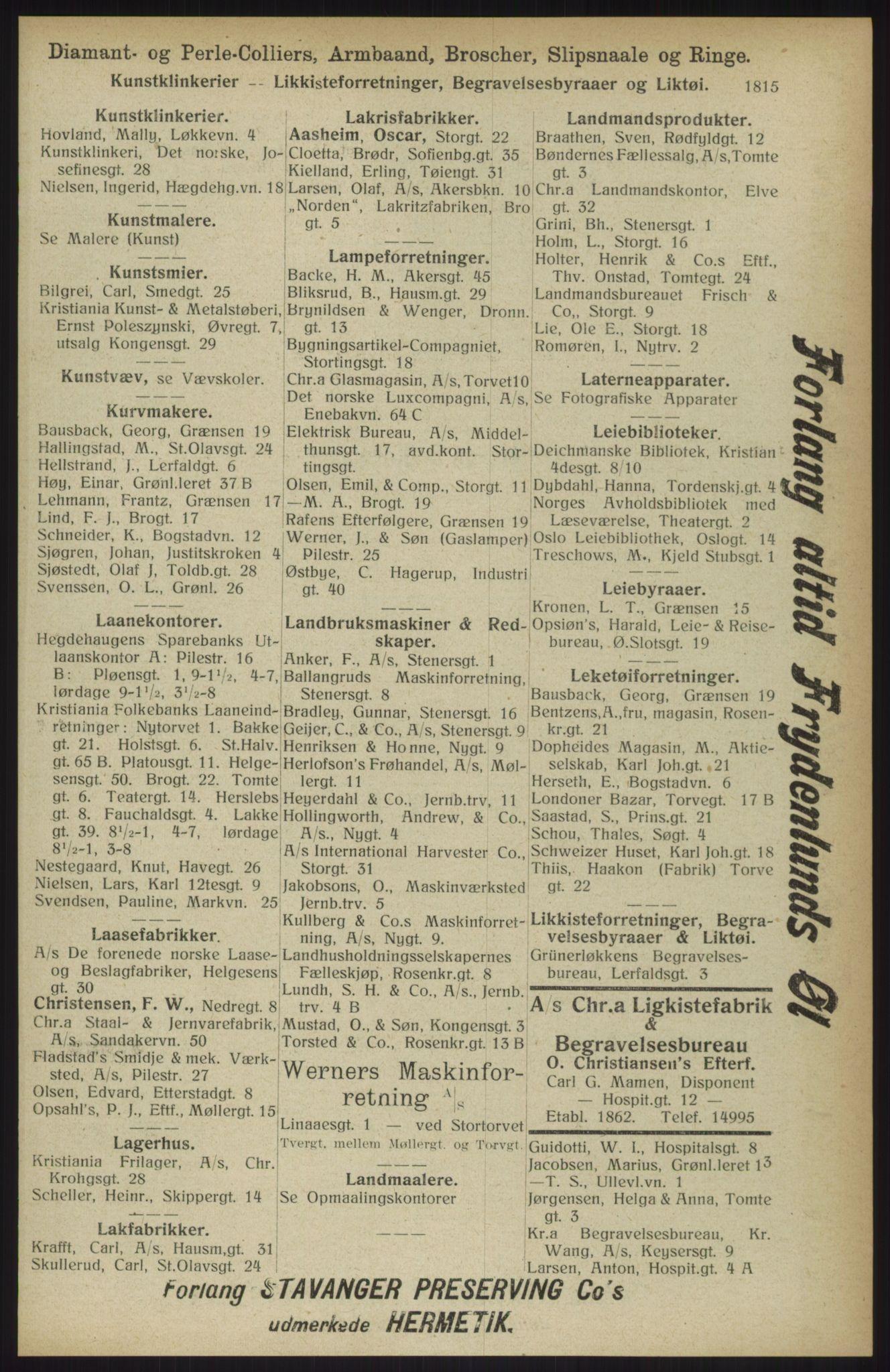 RA, Kristiania adressebok (publikasjon)*, 1914, s. 1815
