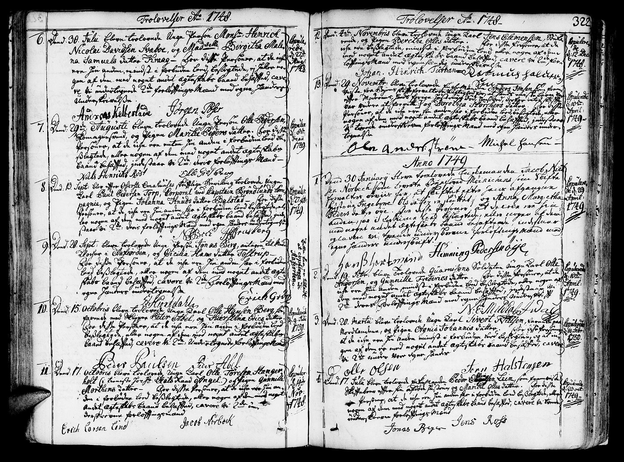 SAT, Ministerialprotokoller, klokkerbøker og fødselsregistre - Sør-Trøndelag, 602/L0103: Ministerialbok nr. 602A01, 1732-1774, s. 322