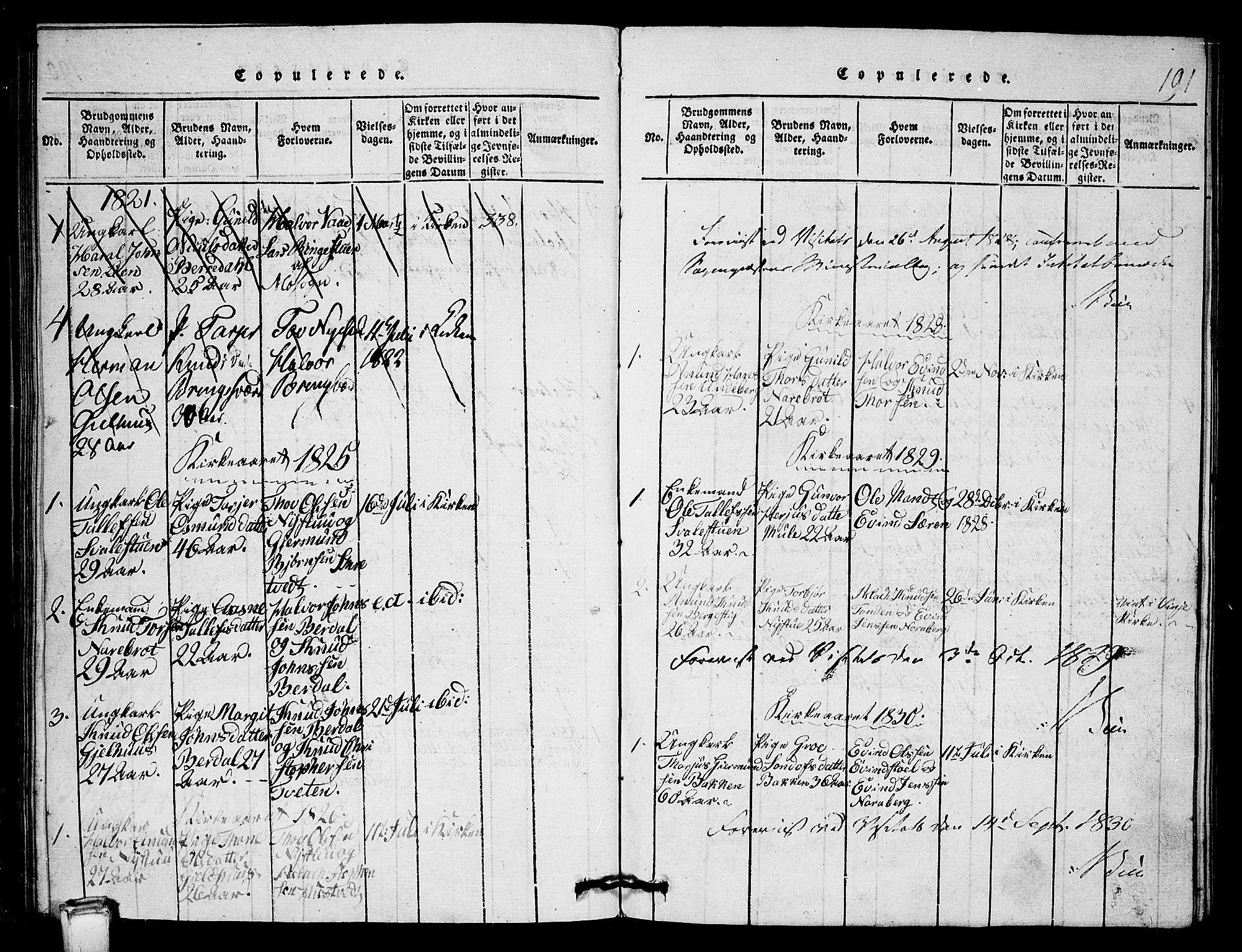 SAKO, Vinje kirkebøker, G/Gb/L0001: Klokkerbok nr. II 1, 1814-1843, s. 191