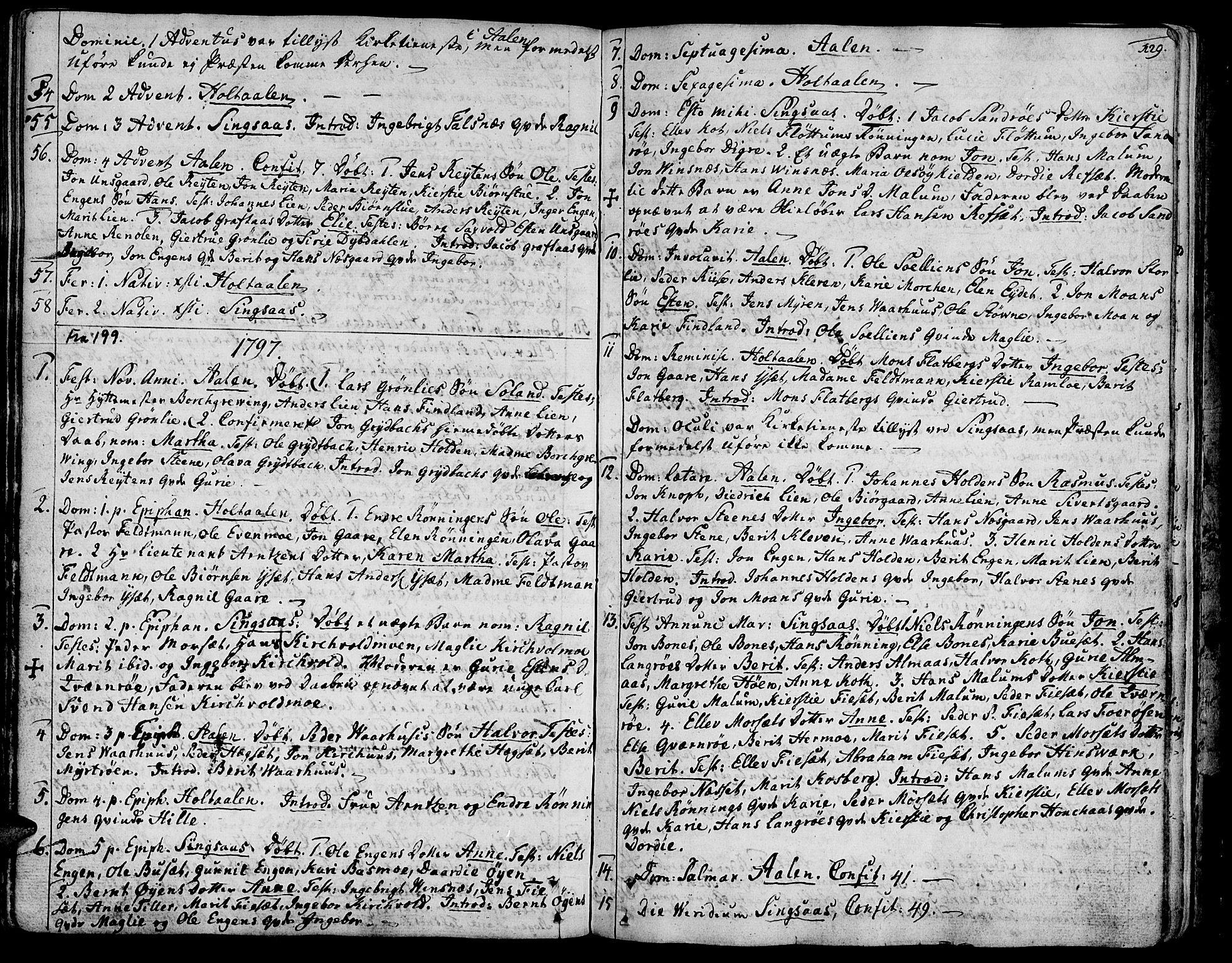 SAT, Ministerialprotokoller, klokkerbøker og fødselsregistre - Sør-Trøndelag, 685/L0952: Ministerialbok nr. 685A01, 1745-1804, s. 129