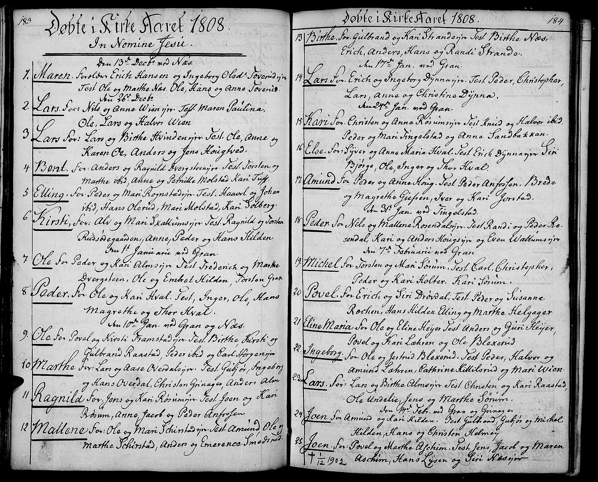 SAH, Gran prestekontor, Ministerialbok nr. 8, 1798-1811, s. 183-184