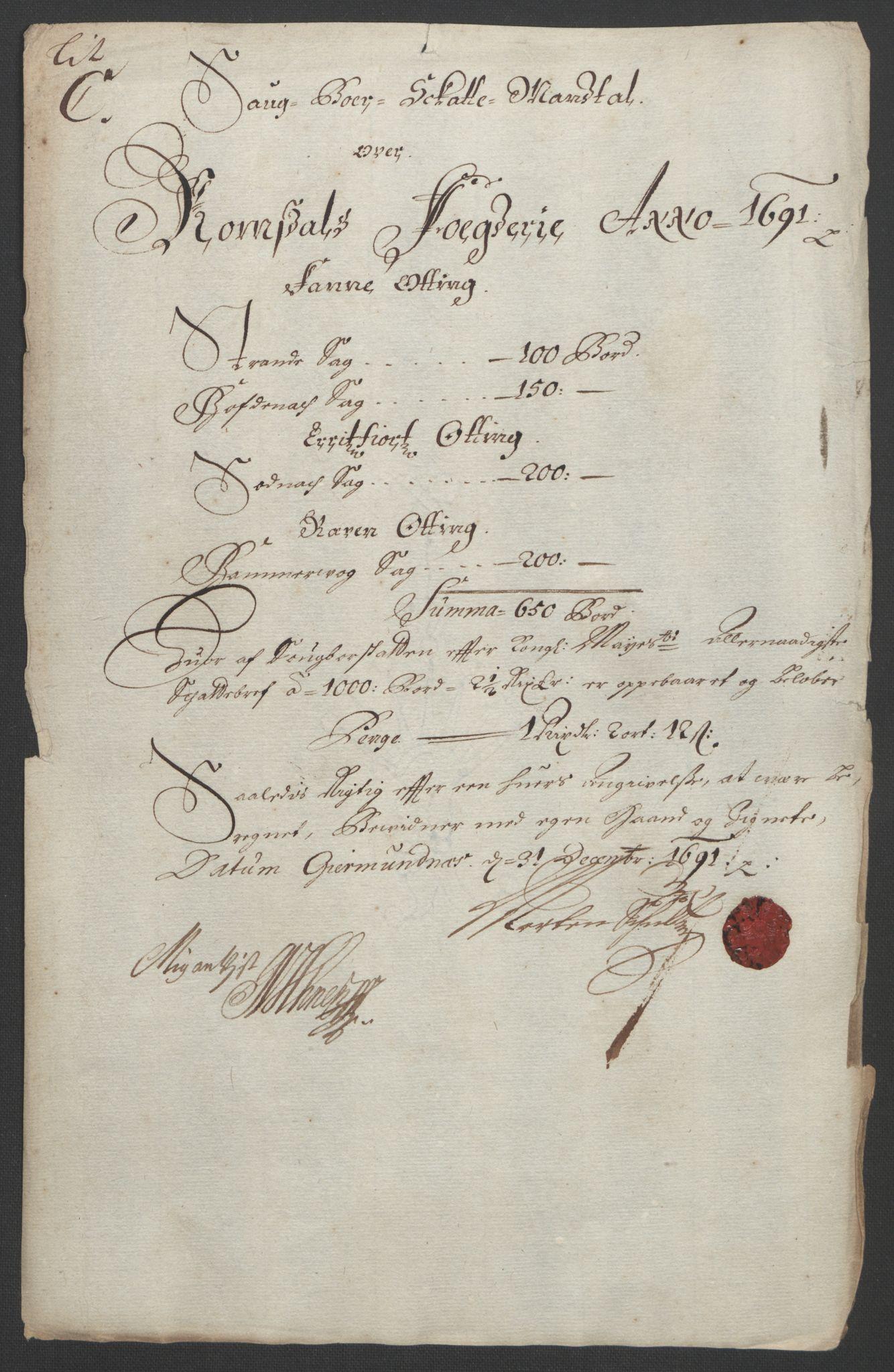 RA, Rentekammeret inntil 1814, Reviderte regnskaper, Fogderegnskap, R55/L3649: Fogderegnskap Romsdal, 1690-1691, s. 252