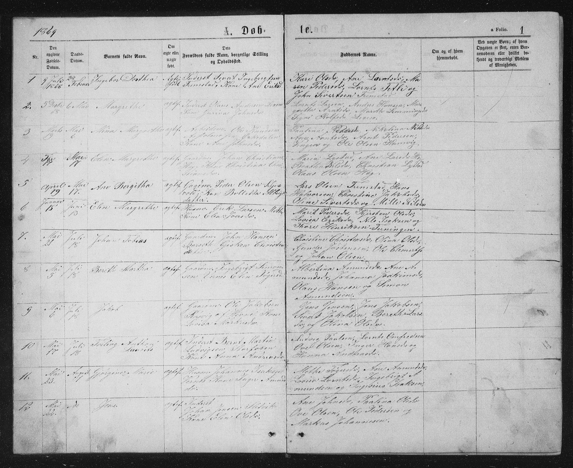 SAT, Ministerialprotokoller, klokkerbøker og fødselsregistre - Sør-Trøndelag, 662/L0756: Klokkerbok nr. 662C01, 1869-1891, s. 1
