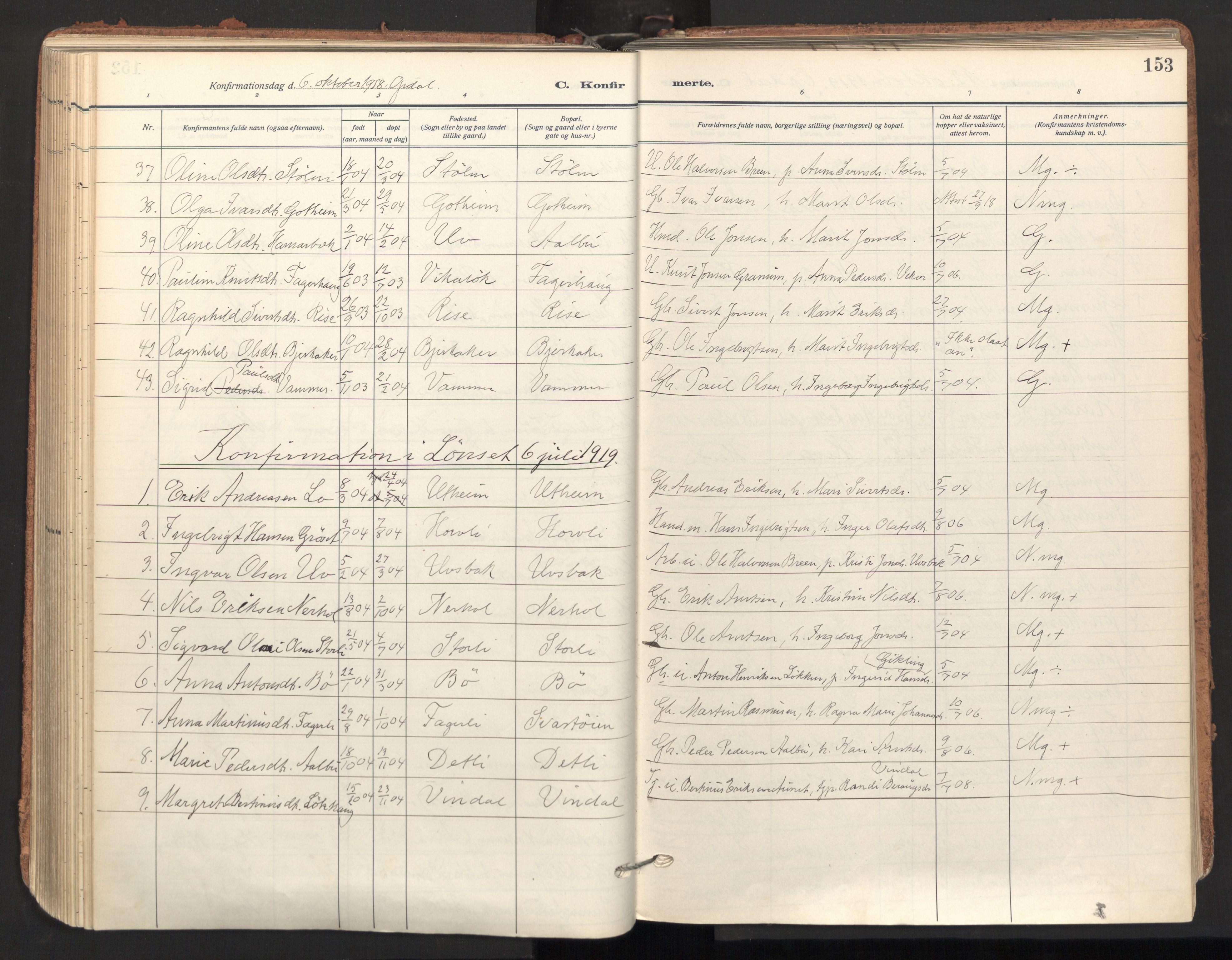 SAT, Ministerialprotokoller, klokkerbøker og fødselsregistre - Sør-Trøndelag, 678/L0909: Ministerialbok nr. 678A17, 1912-1930, s. 153