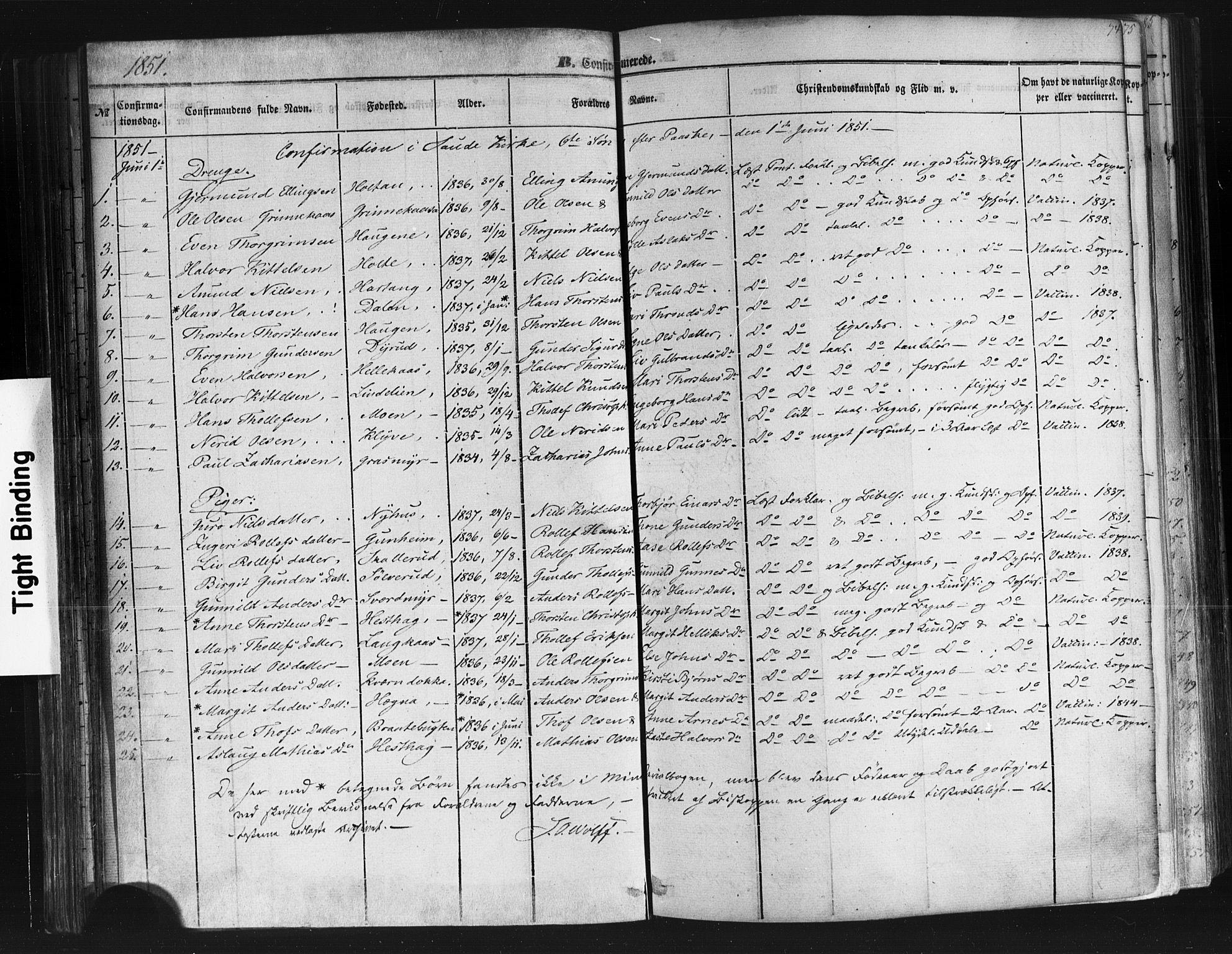 SAKO, Sauherad kirkebøker, F/Fb/L0001: Ministerialbok nr. II 1, 1851-1877, s. 74