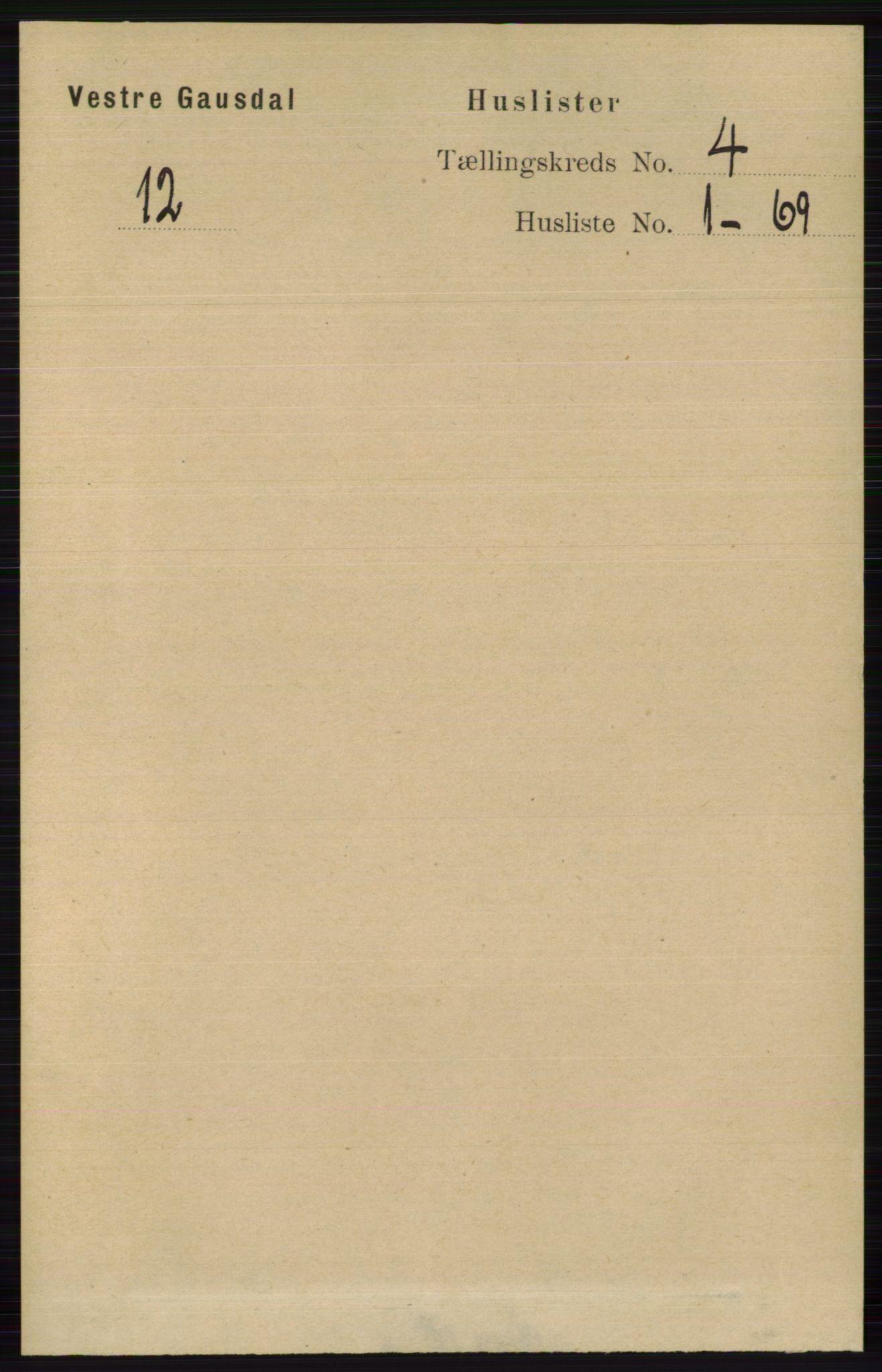 RA, Folketelling 1891 for 0523 Vestre Gausdal herred, 1891, s. 1639