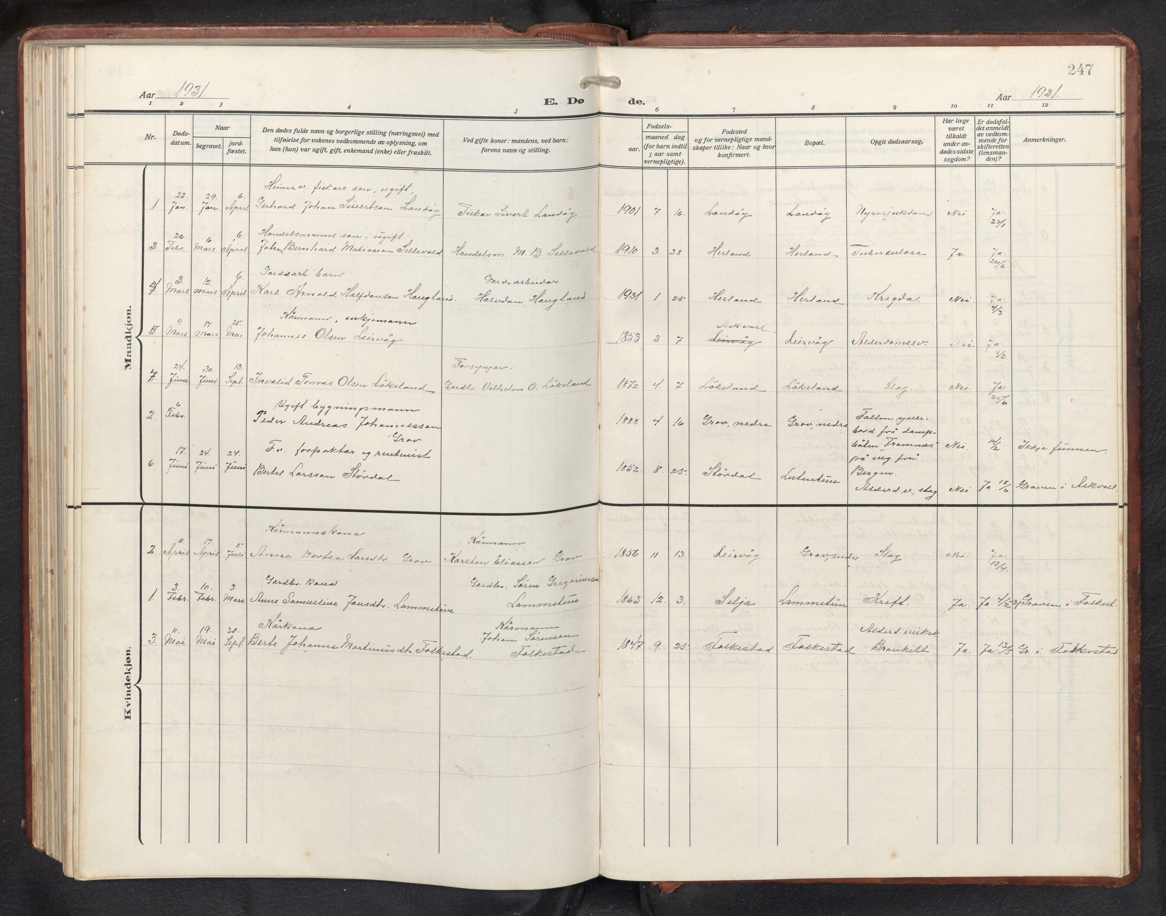 SAB, Askvoll sokneprestembete, H/Hab/Habb/L0002: Klokkerbok nr. B 2, 1910-1947, s. 246b-247a