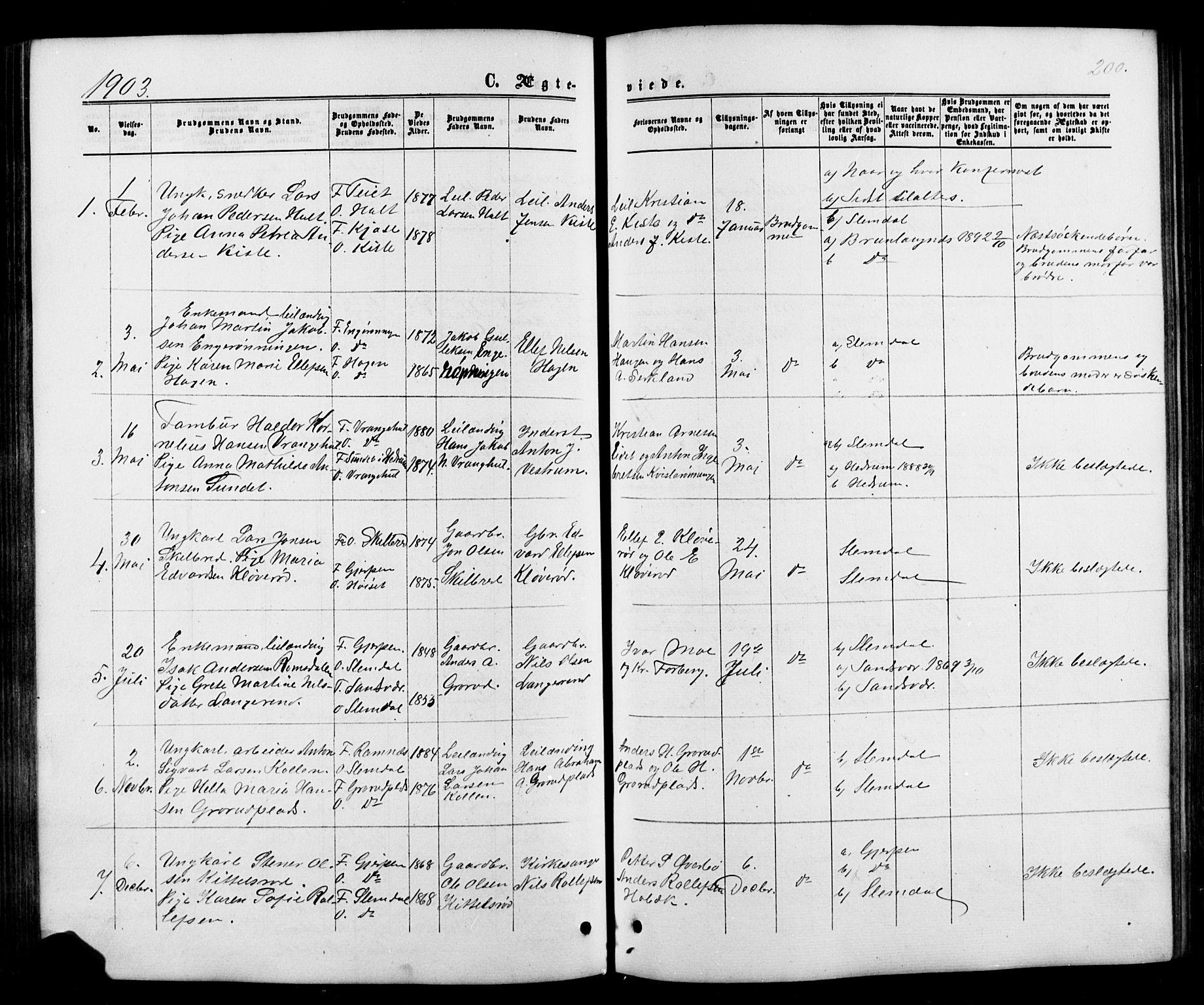 SAKO, Siljan kirkebøker, G/Ga/L0002: Klokkerbok nr. 2, 1864-1908, s. 200