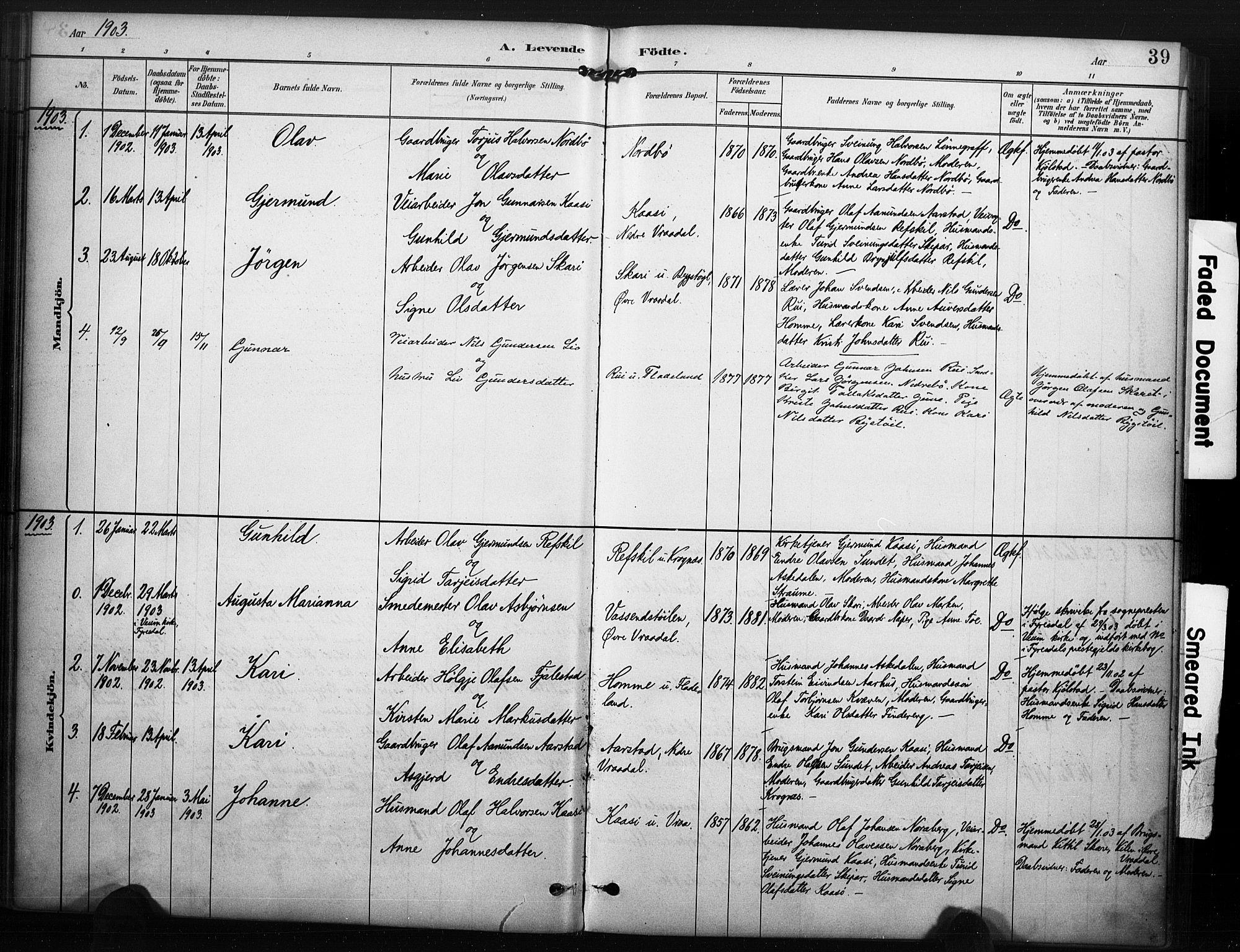 SAKO, Kviteseid kirkebøker, F/Fc/L0002: Ministerialbok nr. III 2, 1882-1908, s. 39