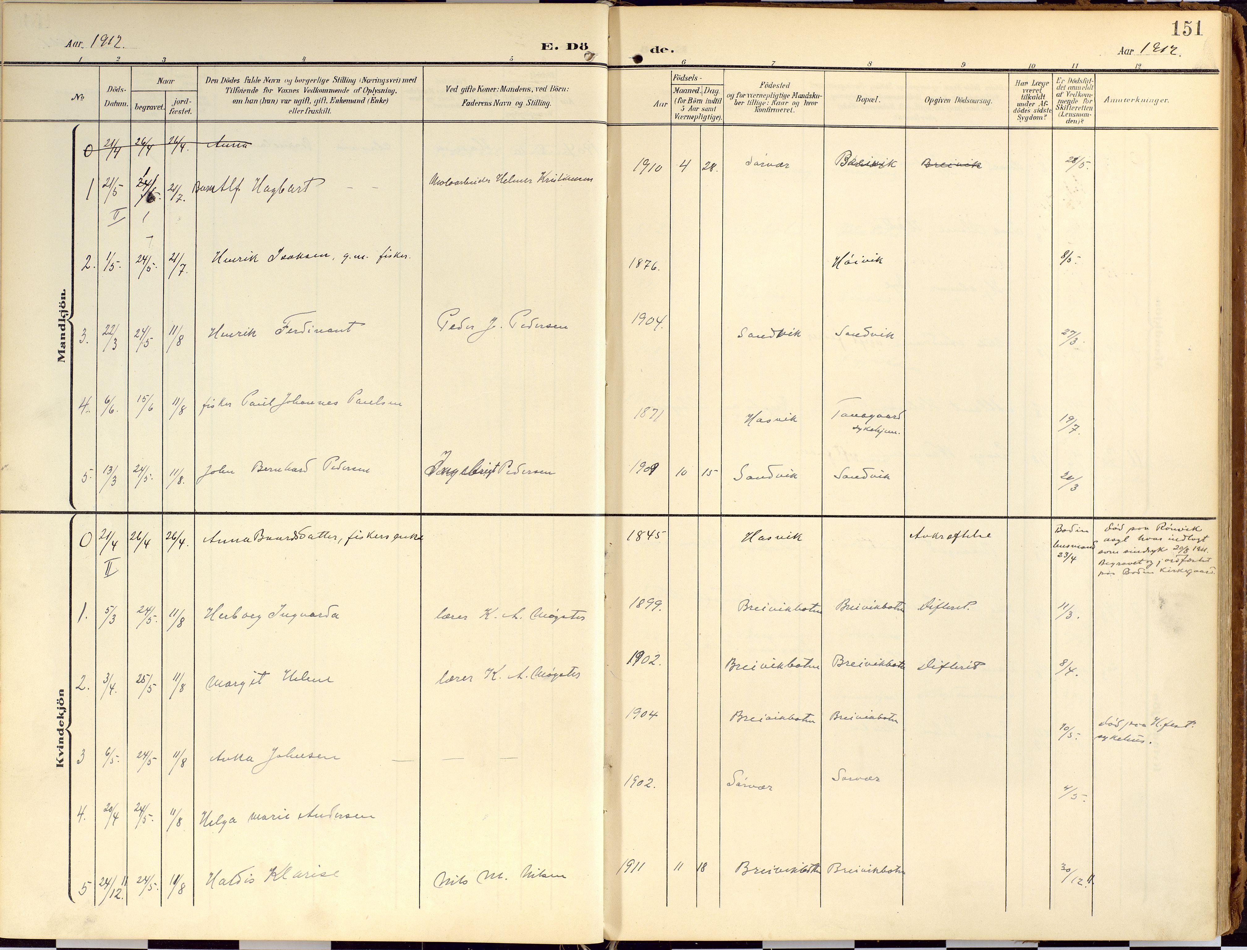 SATØ, Loppa sokneprestkontor, H/Ha/L0010kirke: Ministerialbok nr. 10, 1907-1922, s. 151