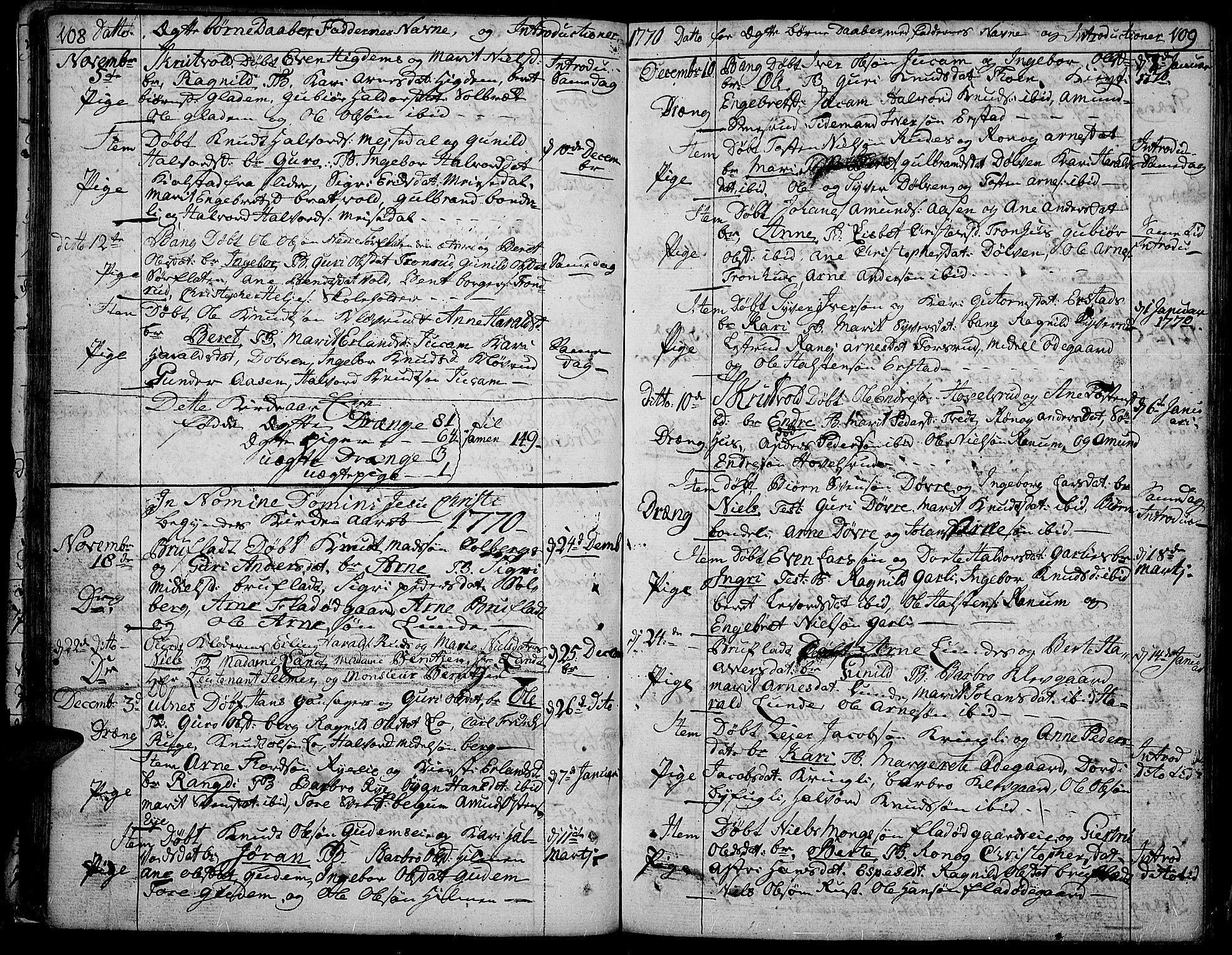 SAH, Aurdal prestekontor, Ministerialbok nr. 5, 1763-1781, s. 108-109